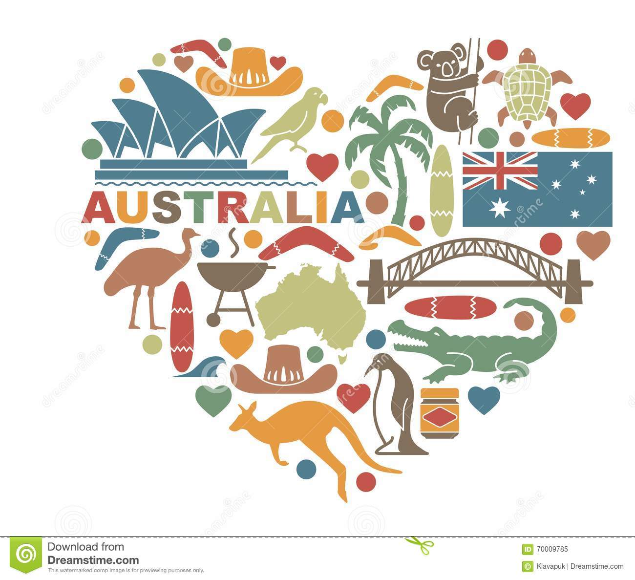 Symbols Of Australia In The Shape A Heart Stock Vector