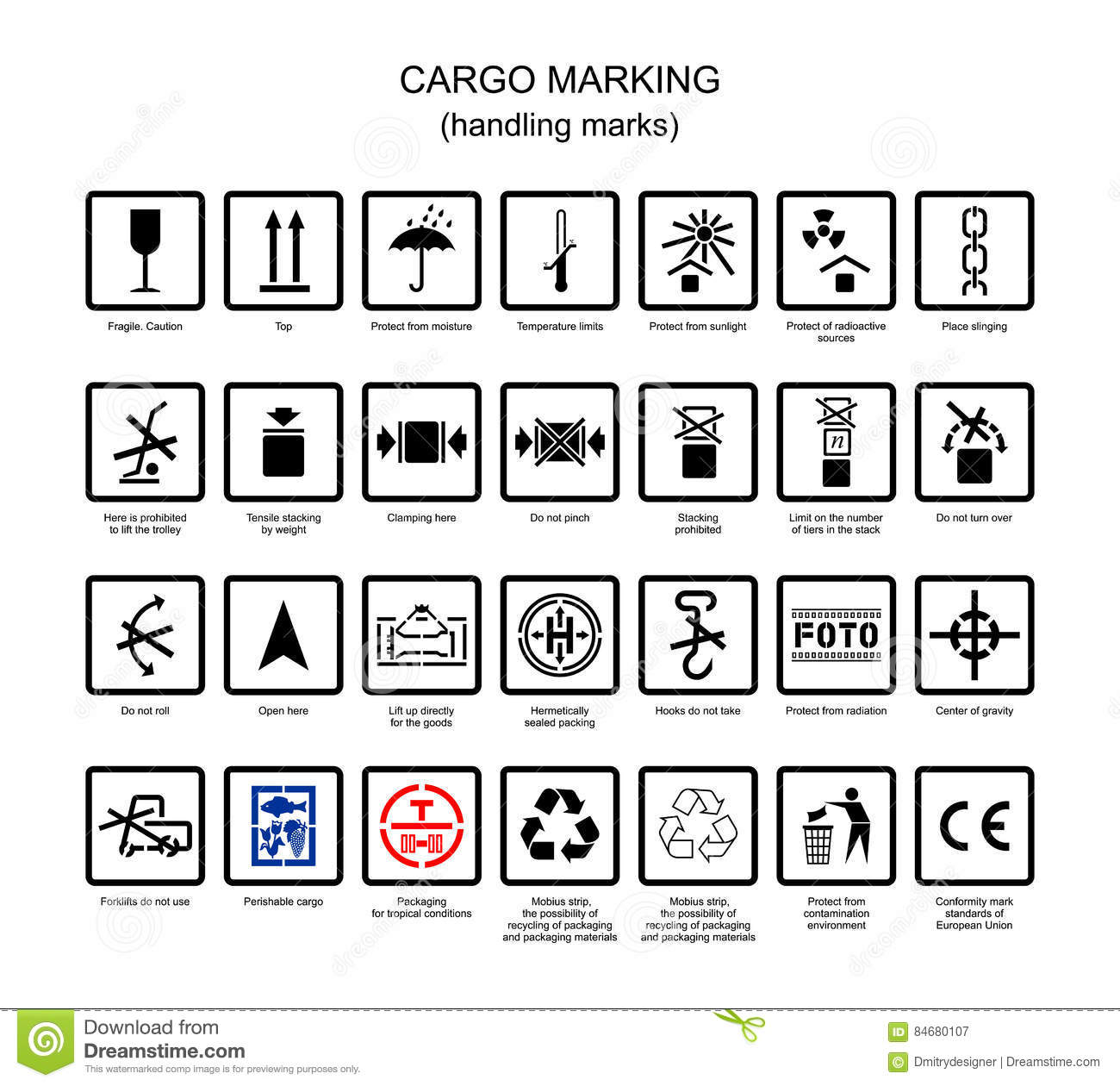 Symbols For Cargo Marking Stock Vector Illustration Of Parcel
