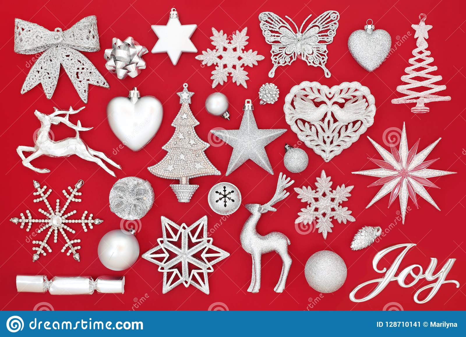 Christmas Joy Sign And Silver Decorations Stock Image Image Of
