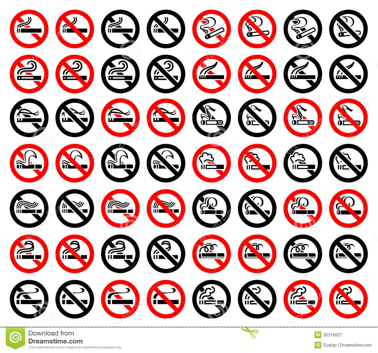 14 Symbols Of Cigarettes 56 Round Signs Stock Vector Illustration