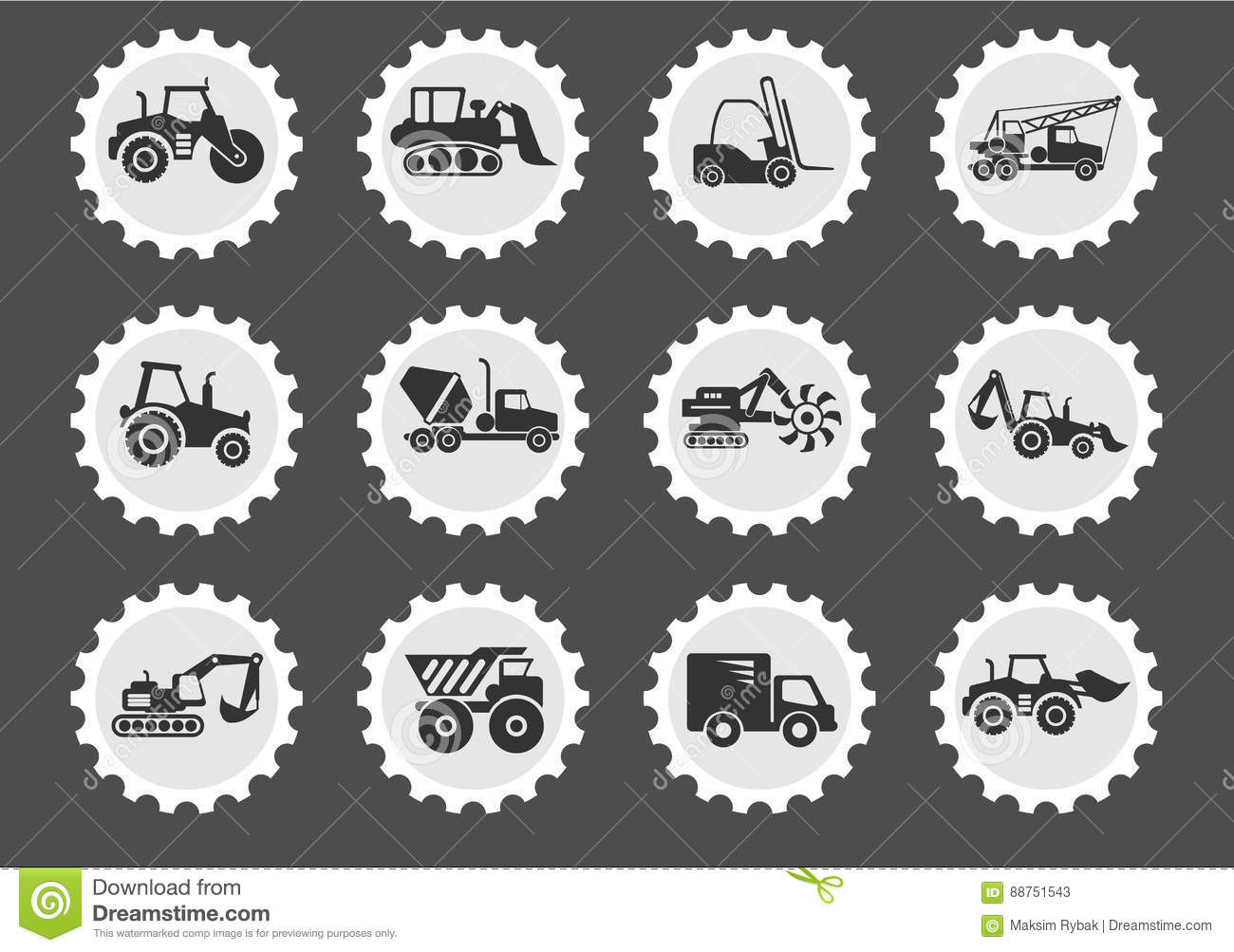 Symbols of construction machines stock illustration illustration symbols of construction machines buycottarizona Image collections
