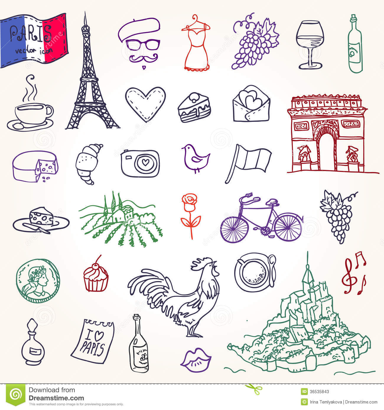 Symbols Of France As Funky Doodles Stock Photos - Image: 36535843