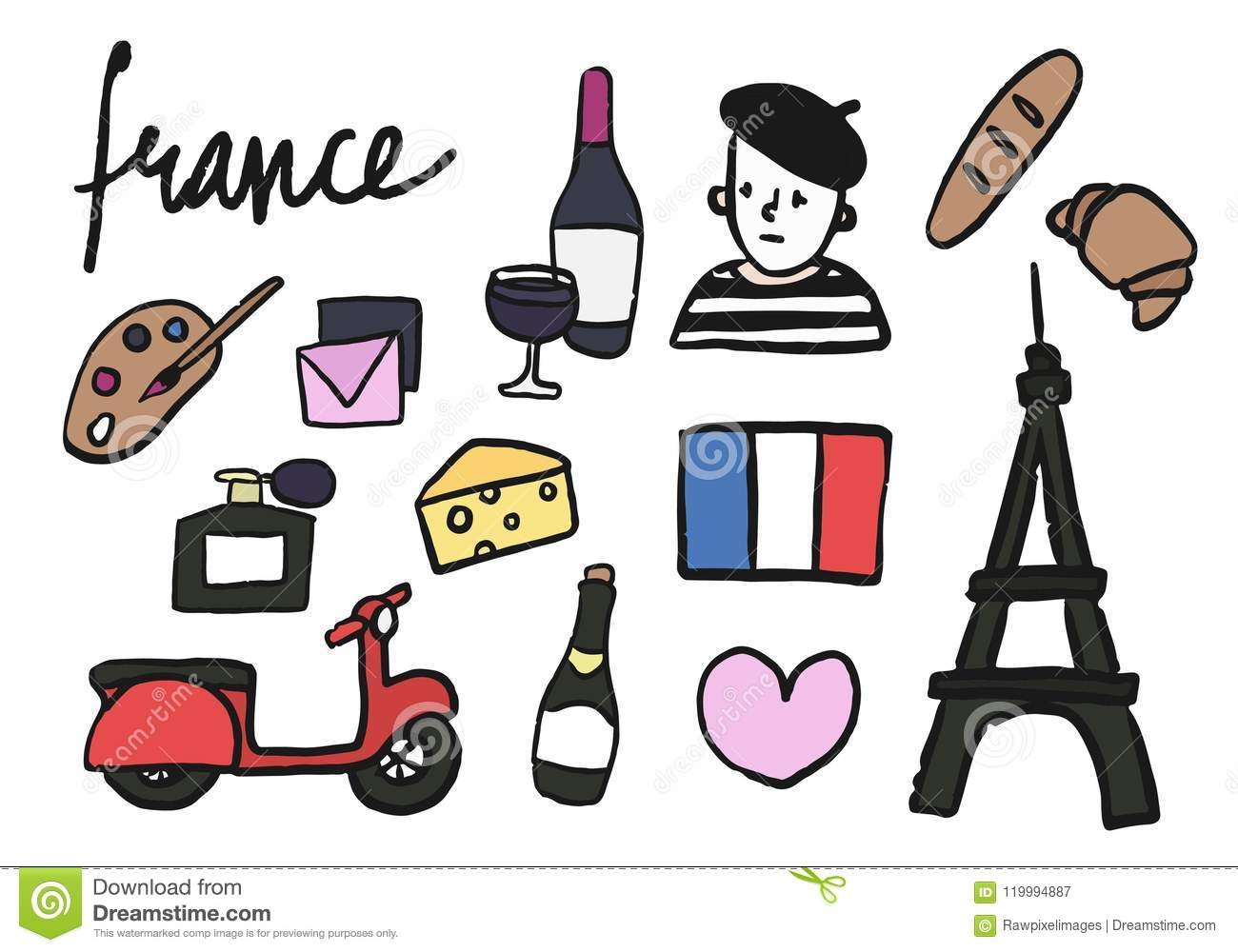 Symbols Of France Collection Illustration Stock Illustration