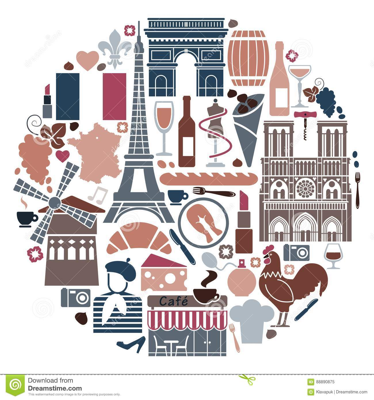 Symbols Of France In The Form Of A Circle Stock Vector