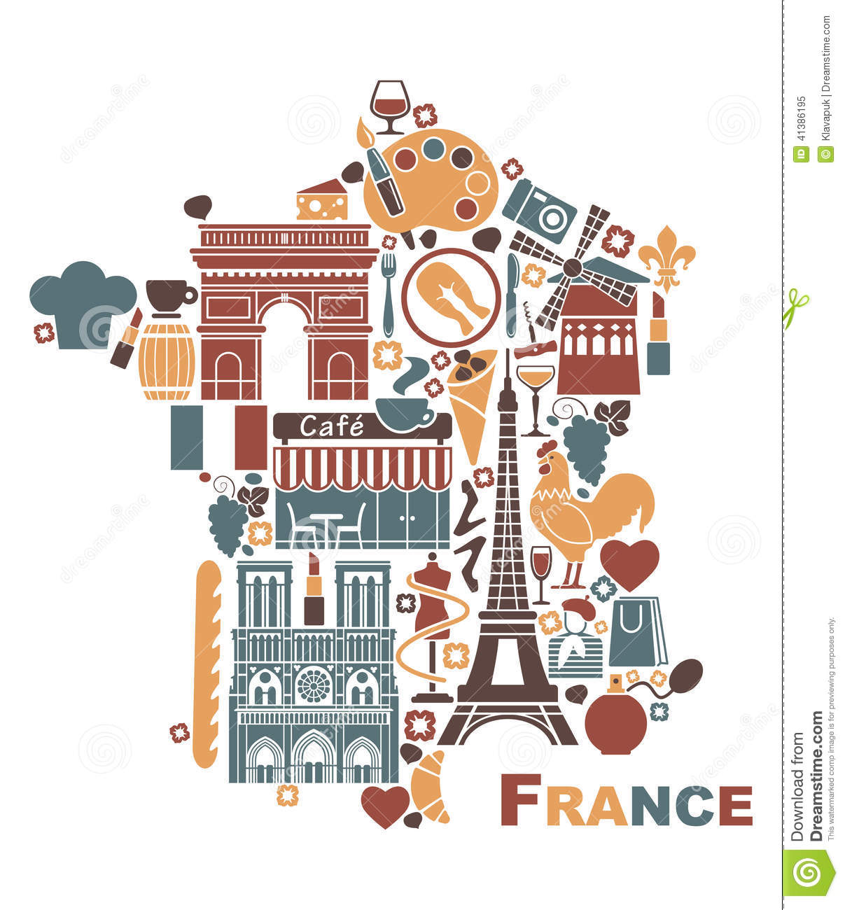 Symbols Of France In The Form Of A Map Stock Vector - Image: 41386195