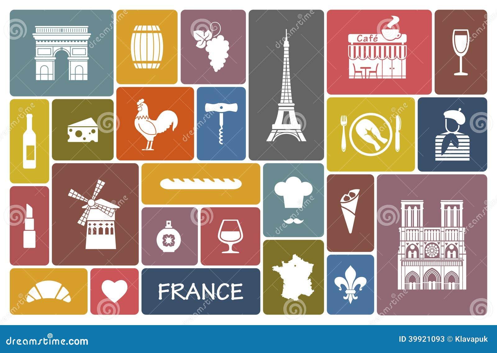 Symbols Of France Stock Vector Illustration Of Landmarks 39921093