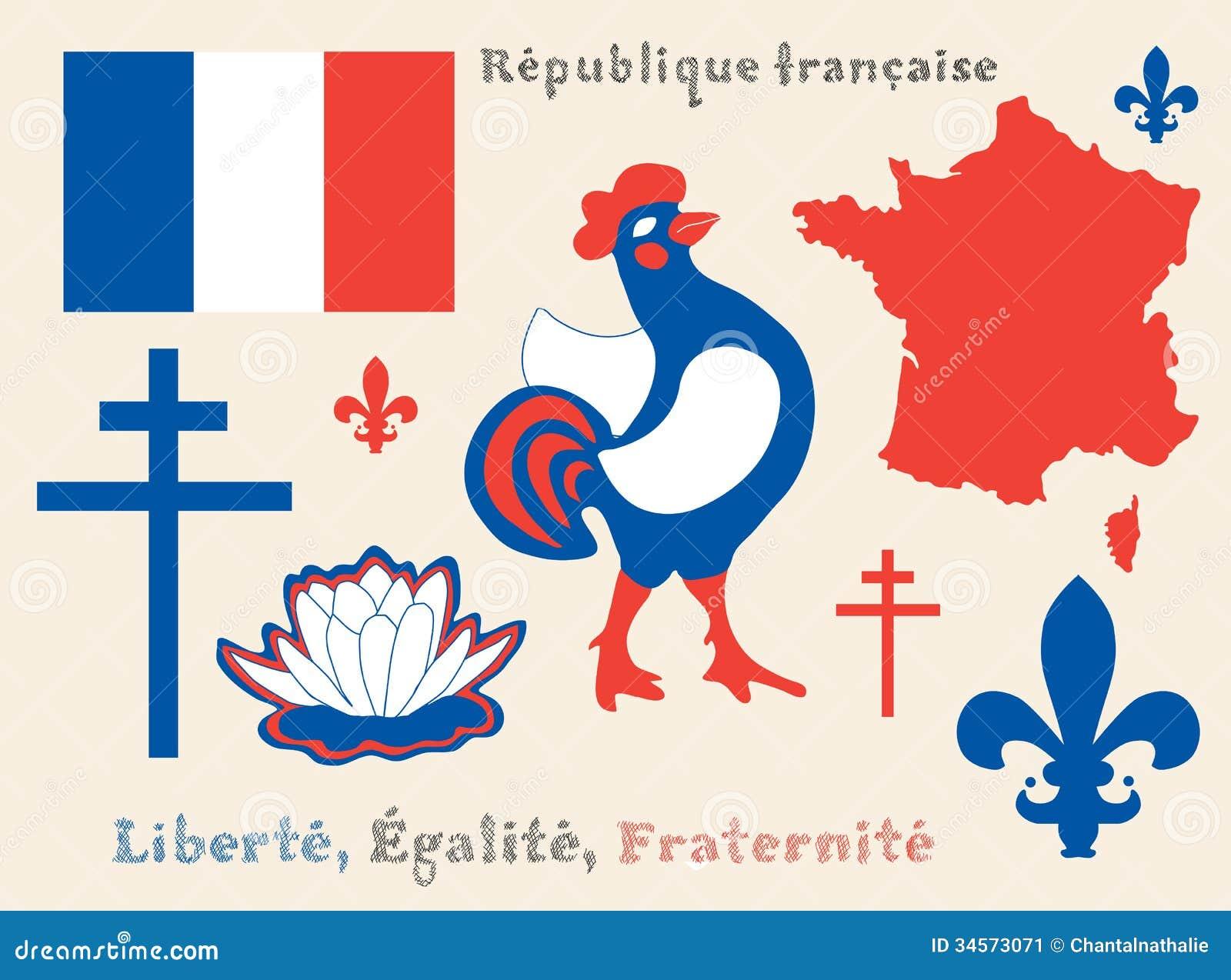 Set of principal symbols of French Republic, flag, map and slogan.