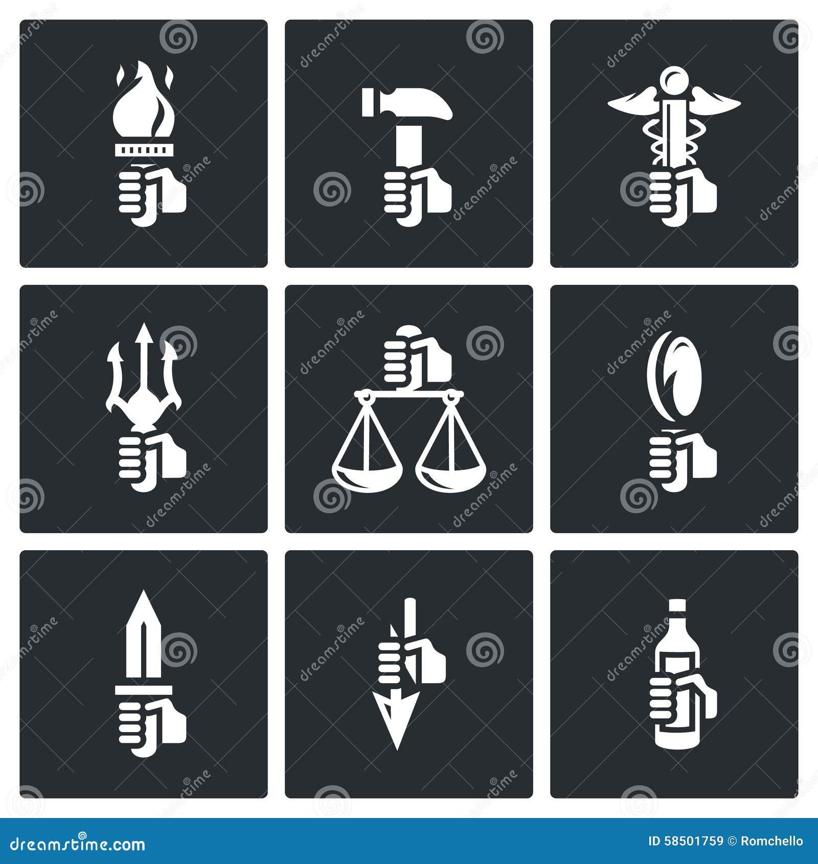 Symbols Of The Gods In Greek Mythology Icons Set Vector
