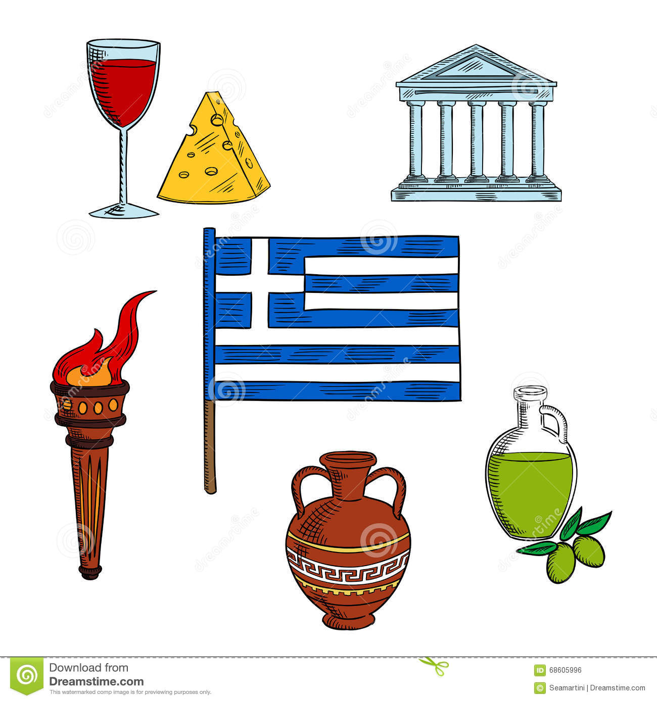 Symbols of greece for travel design stock vector illustration of symbols of greece for travel design biocorpaavc Image collections
