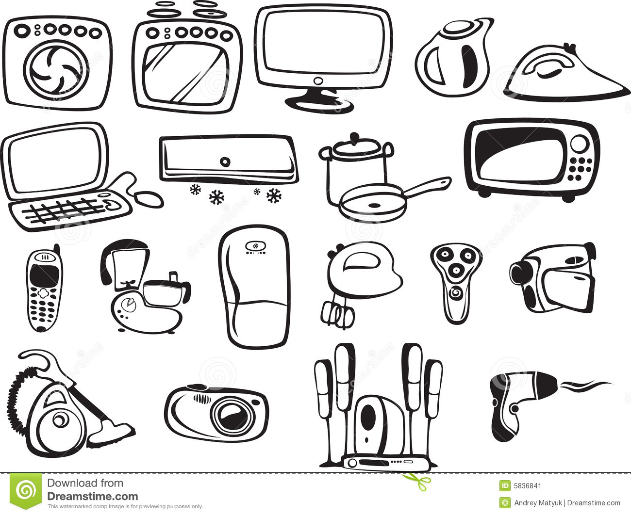 Symbols Of Household Appliances And Electronic Stock Image - Image ...