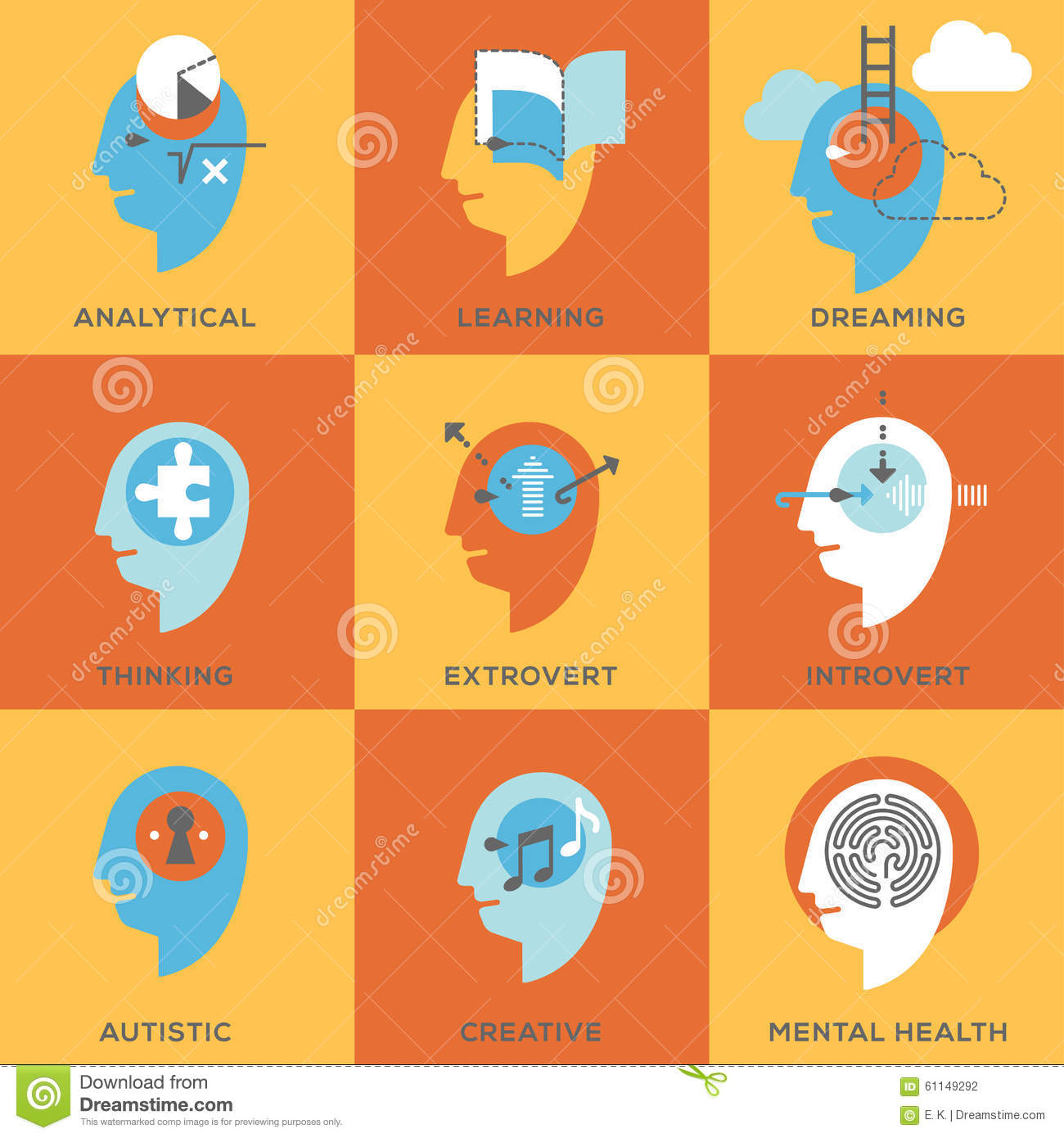 symbols of human mind states stock vector image 61149292 symbols of human mind states