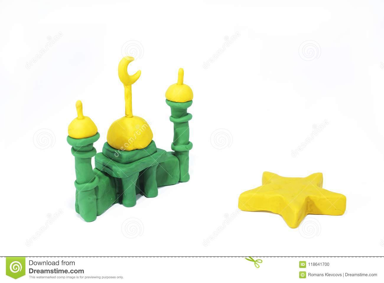 Symbols Of Islam Objects Made From Play Clay Stock Photo Image