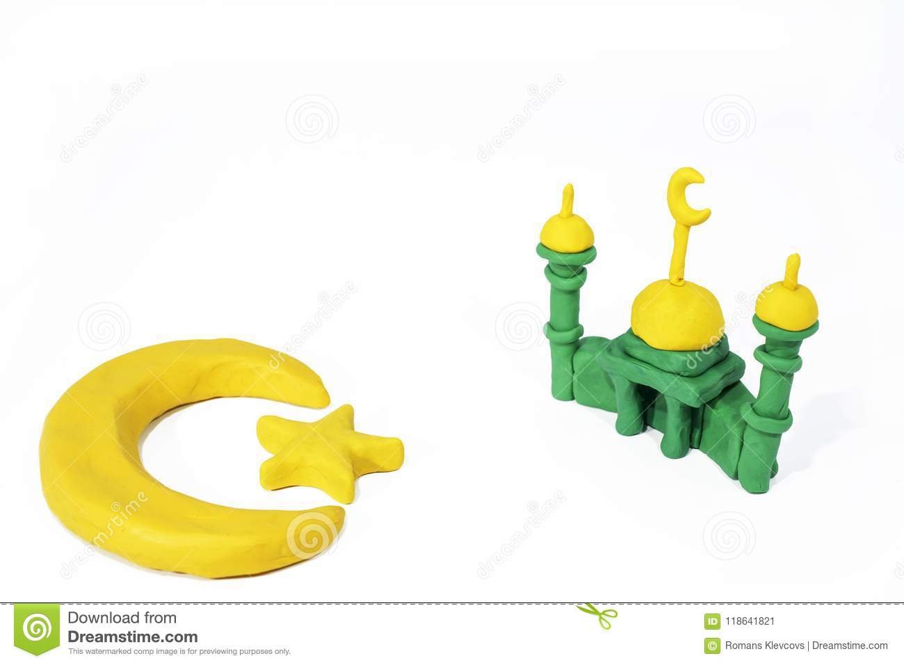 Symbols Of Islam Objects Made From Play Clay Stock Image Image