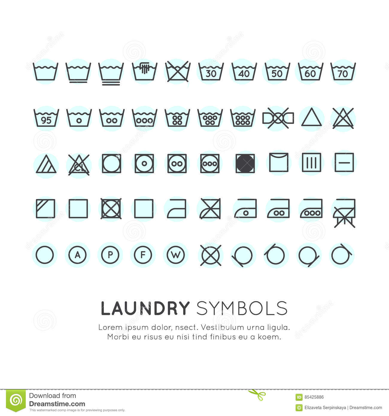 The Symbols On The Labels Of Clothes Washing Stock Illustration