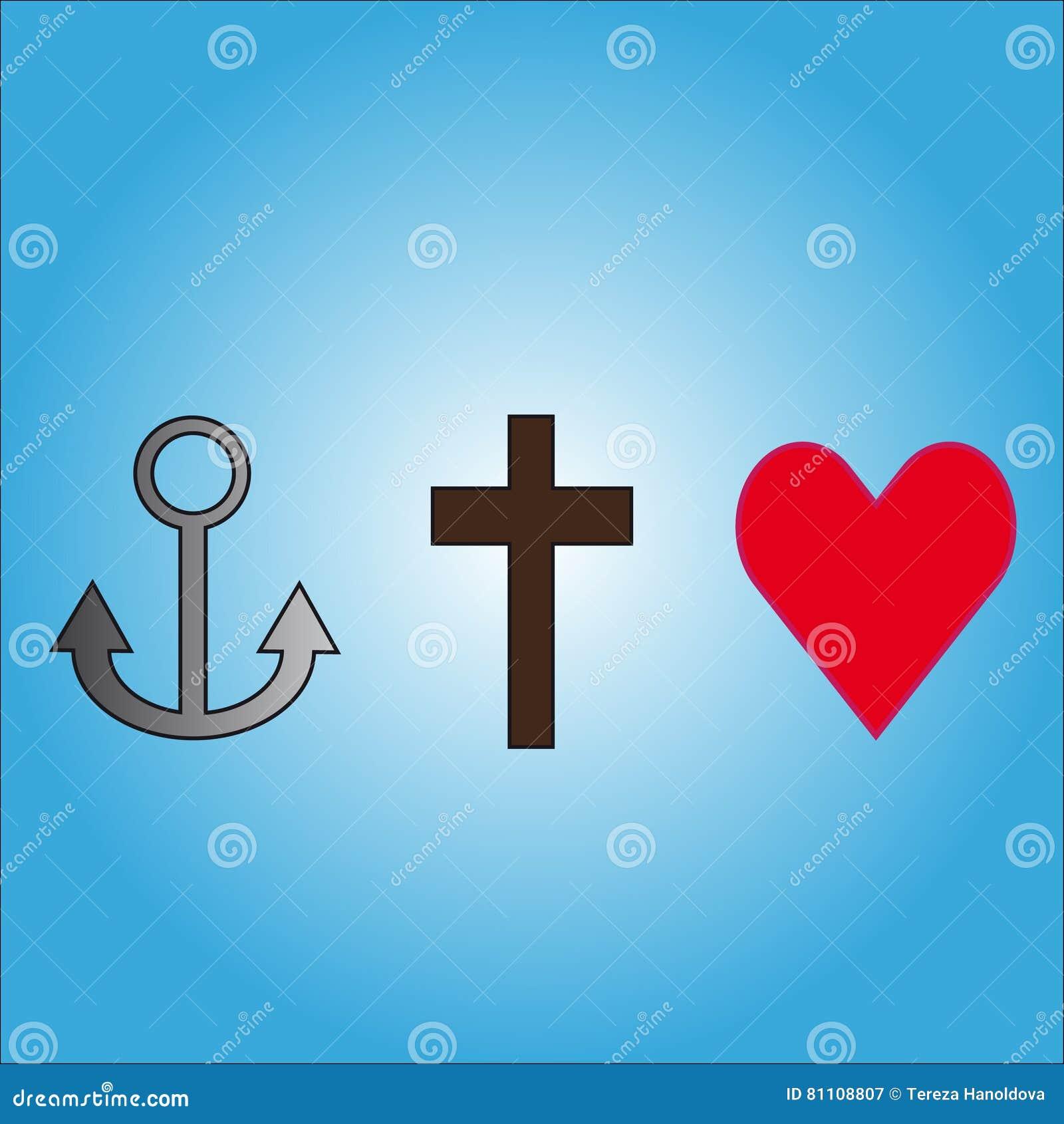 Symbols Love, Faith, Hope Stock Vector - Image: 81108807