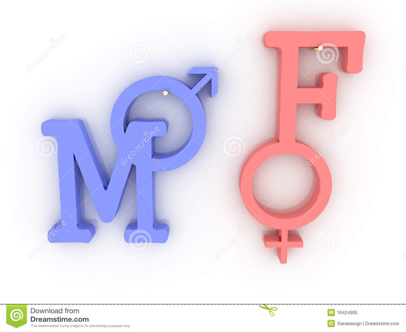 Symbols Of Male And Female Pink And Blue 3d Stock Illustration