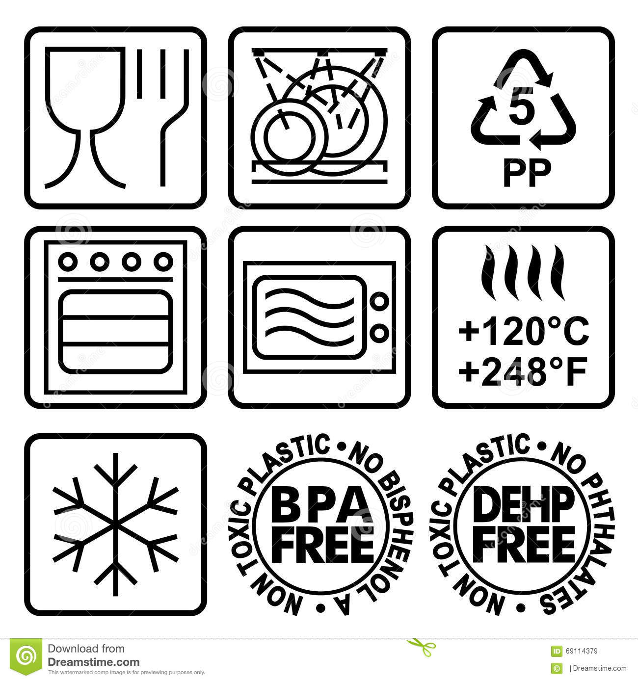 Symbols For Marking Plastic Dishes Stock Vector Illustration Of