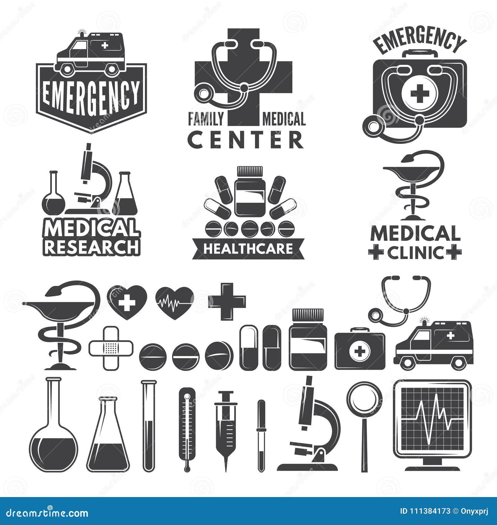 Symbols Of Medicine Medical Logos And Badges Stock Vector