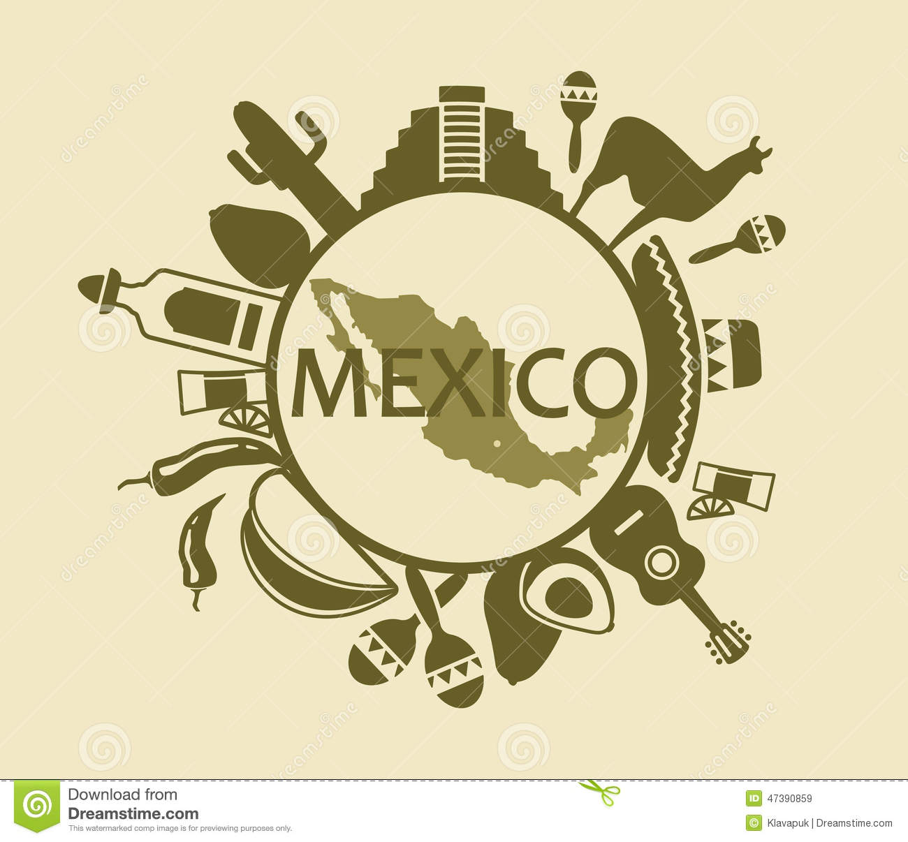 Symbols Of Mexico Stock Vector Illustration Of Music 47390859