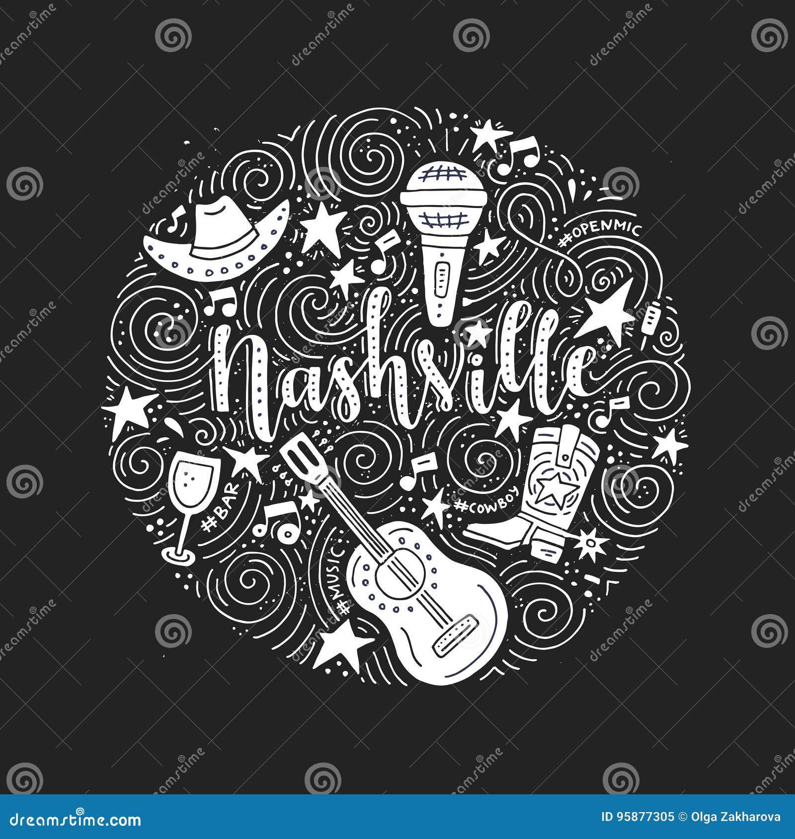 The Symbols Of Nashville Stock Vector Illustration Of Concert