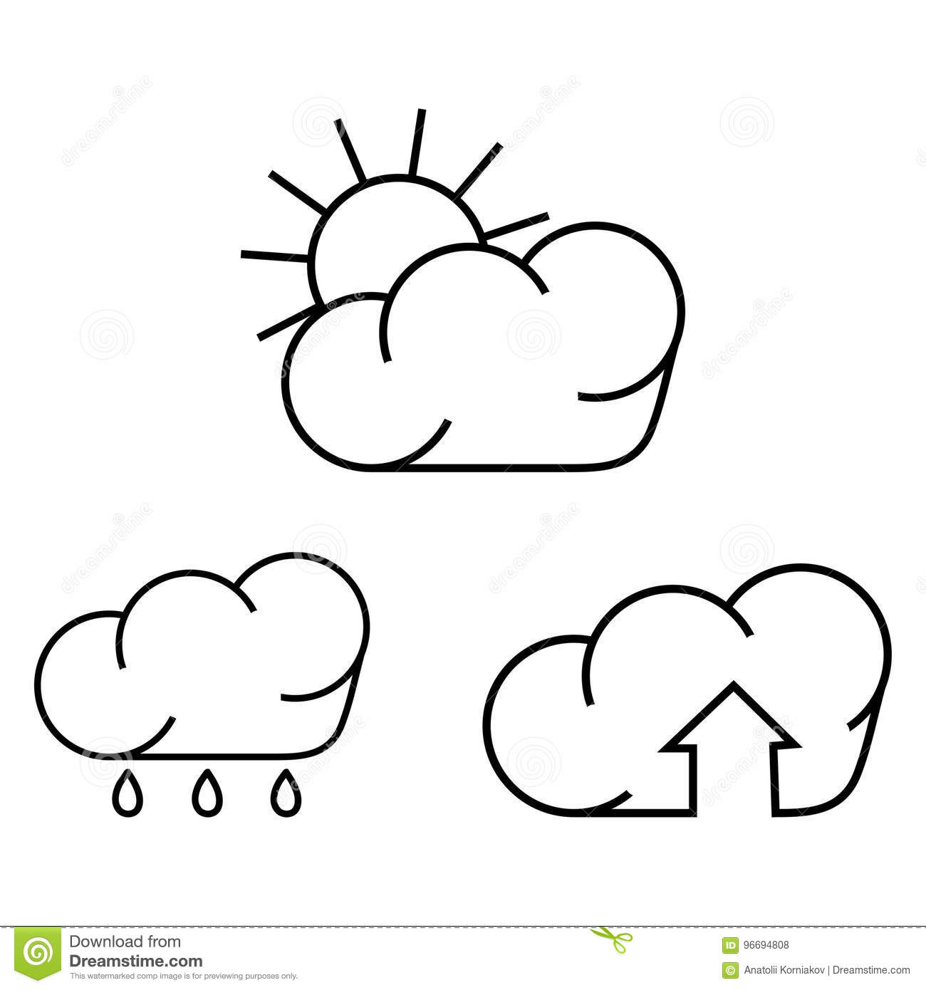 Symbols For Rain And Sun Stock Vector Illustration Of Cloud 96694808