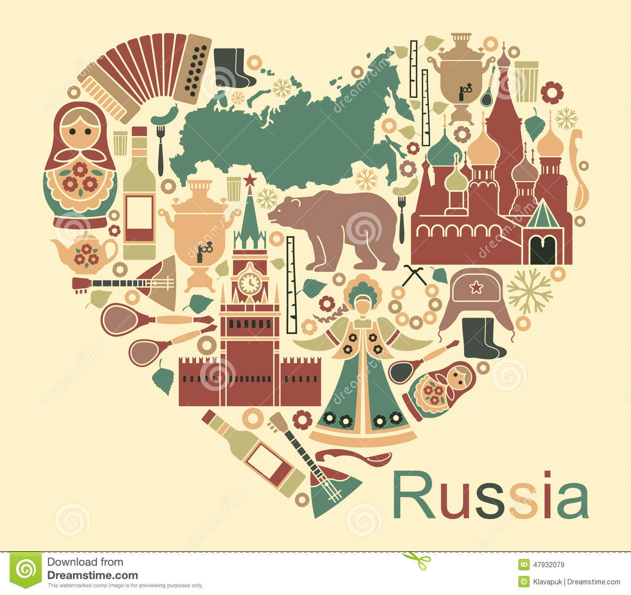 Symbols Of Russia In The Form Heart Stock Vector Image 47932079