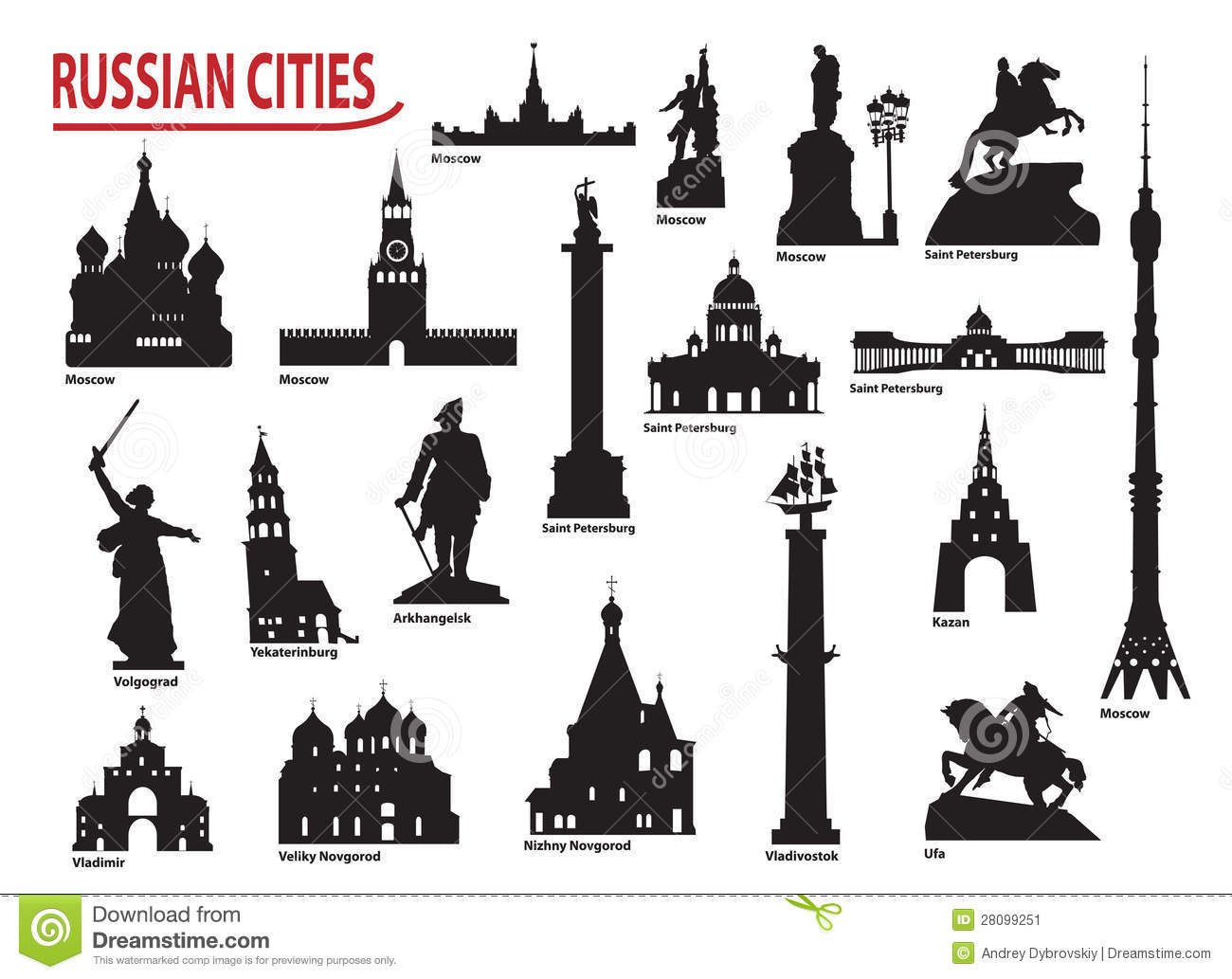 Symbols Of Russian Cities Stock Vector Illustration Of Silhouette