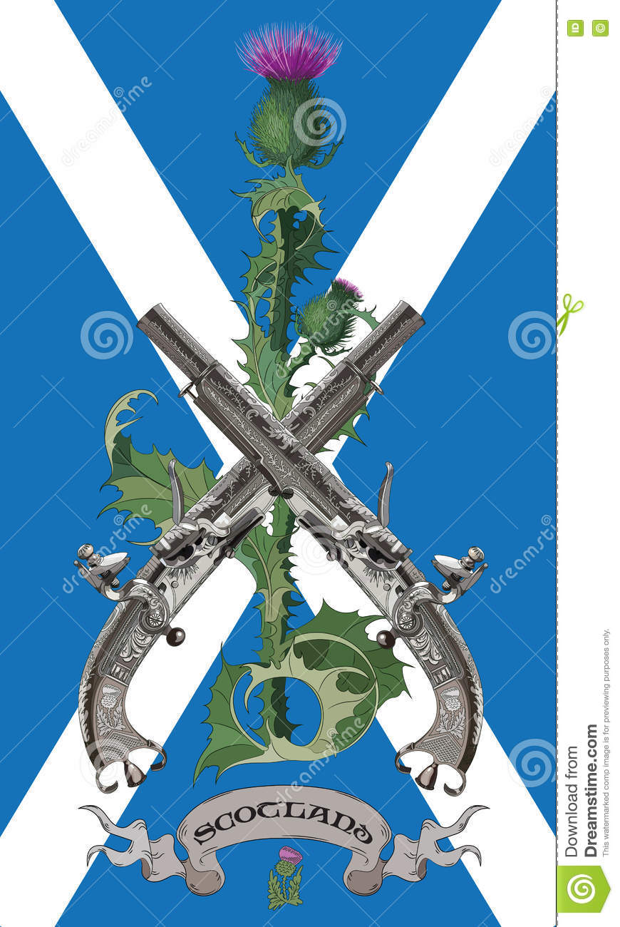The symbols of scotland scottish thistles and two crossed scottish the symbols of scotland scottish thistles and two crossed scottish flintlock pistol in the background of the flag of scotland buycottarizona Image collections