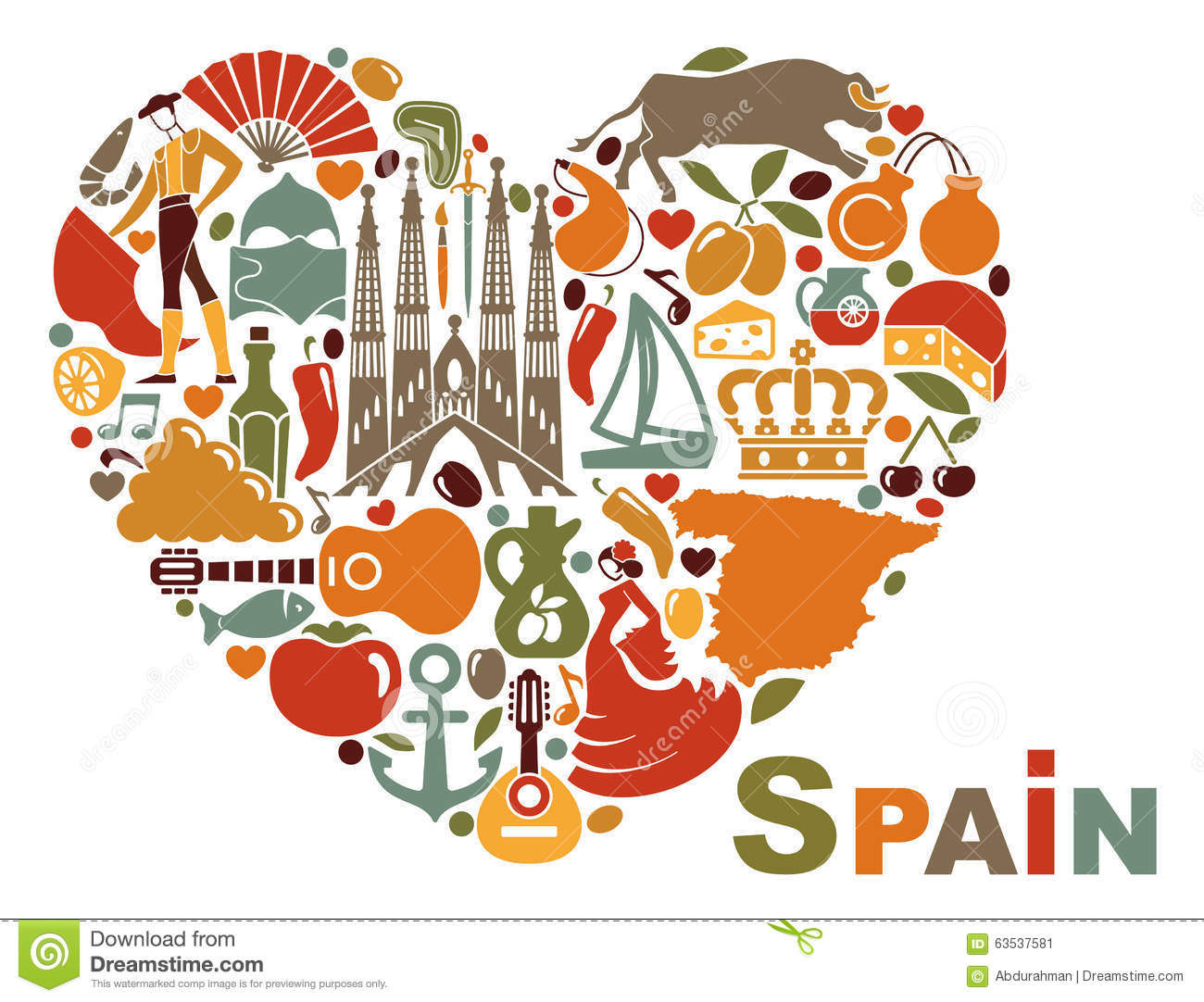 The Symbols Of Spain In Heart Shape Stock Vector
