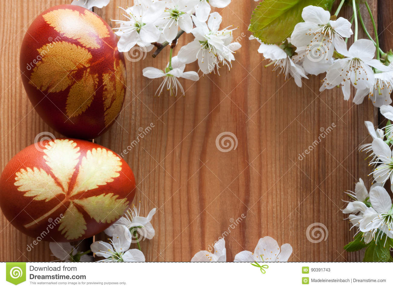 Symbols of spring - Easter eggs dyed with onion peels and cherry blossoms on a wooden background with copy space