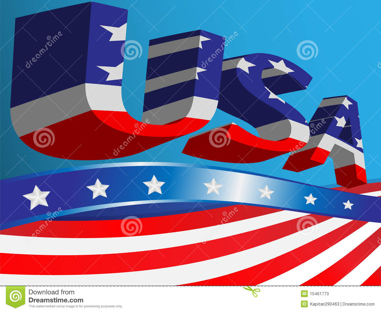 Blue background with ribbons of the flag USA and abbreviation.