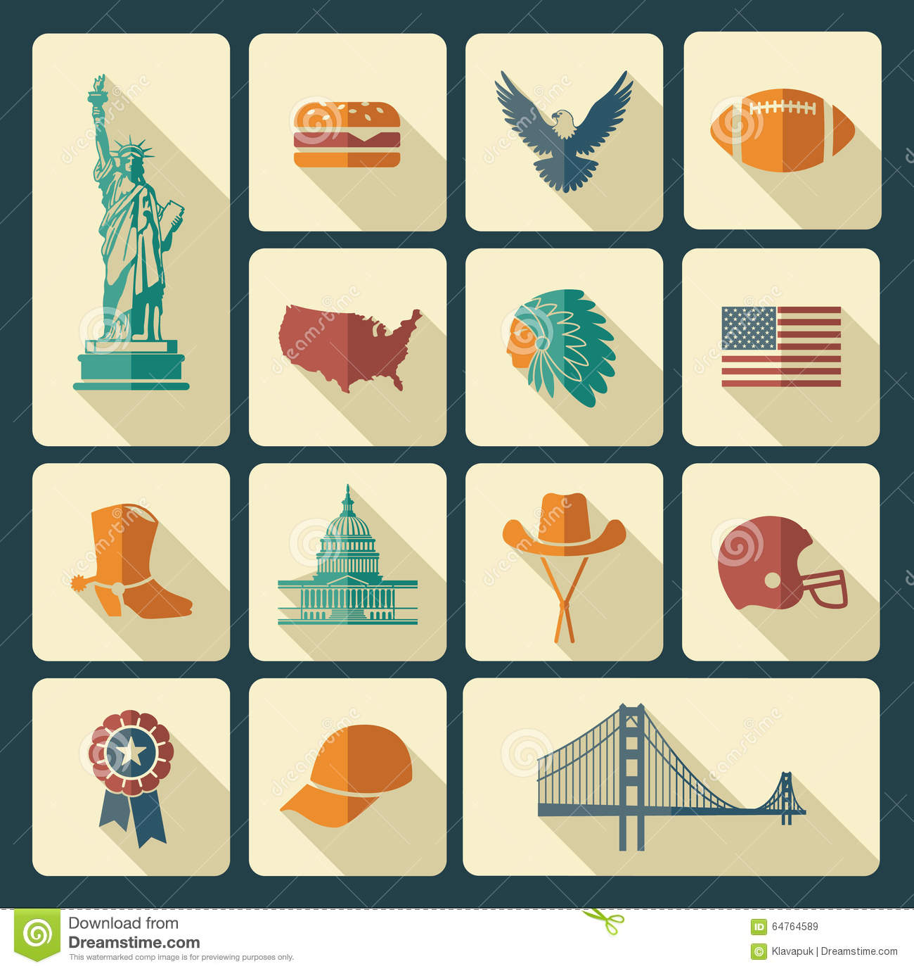 Symbols Of The Usa Stock Vector Illustration Of American 64764589