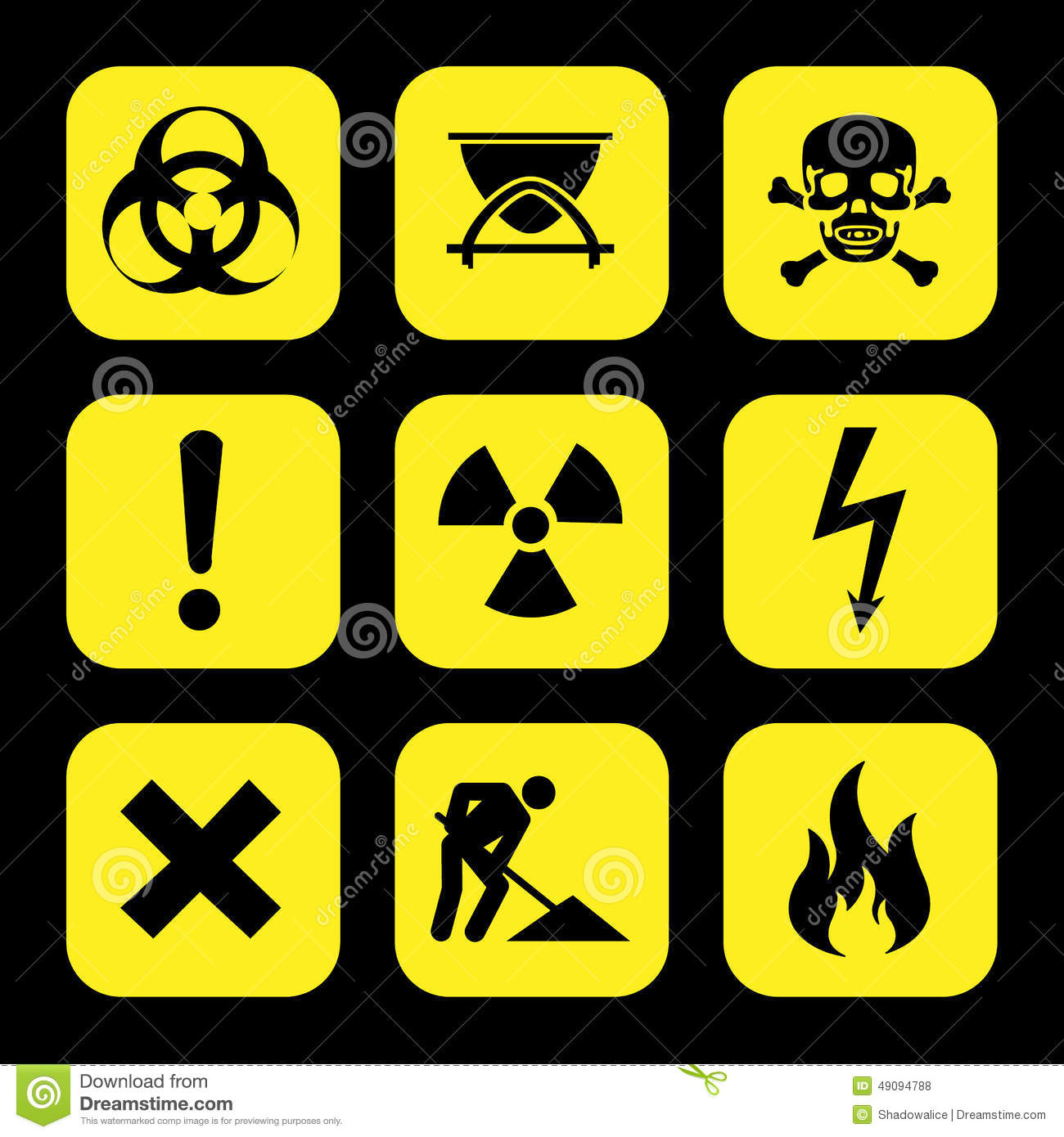 Laboratory safety symbols stock vector illustration of biohazard symbols warning hazard icons set great for any use vector eps10 royalty free stock buycottarizona Image collections
