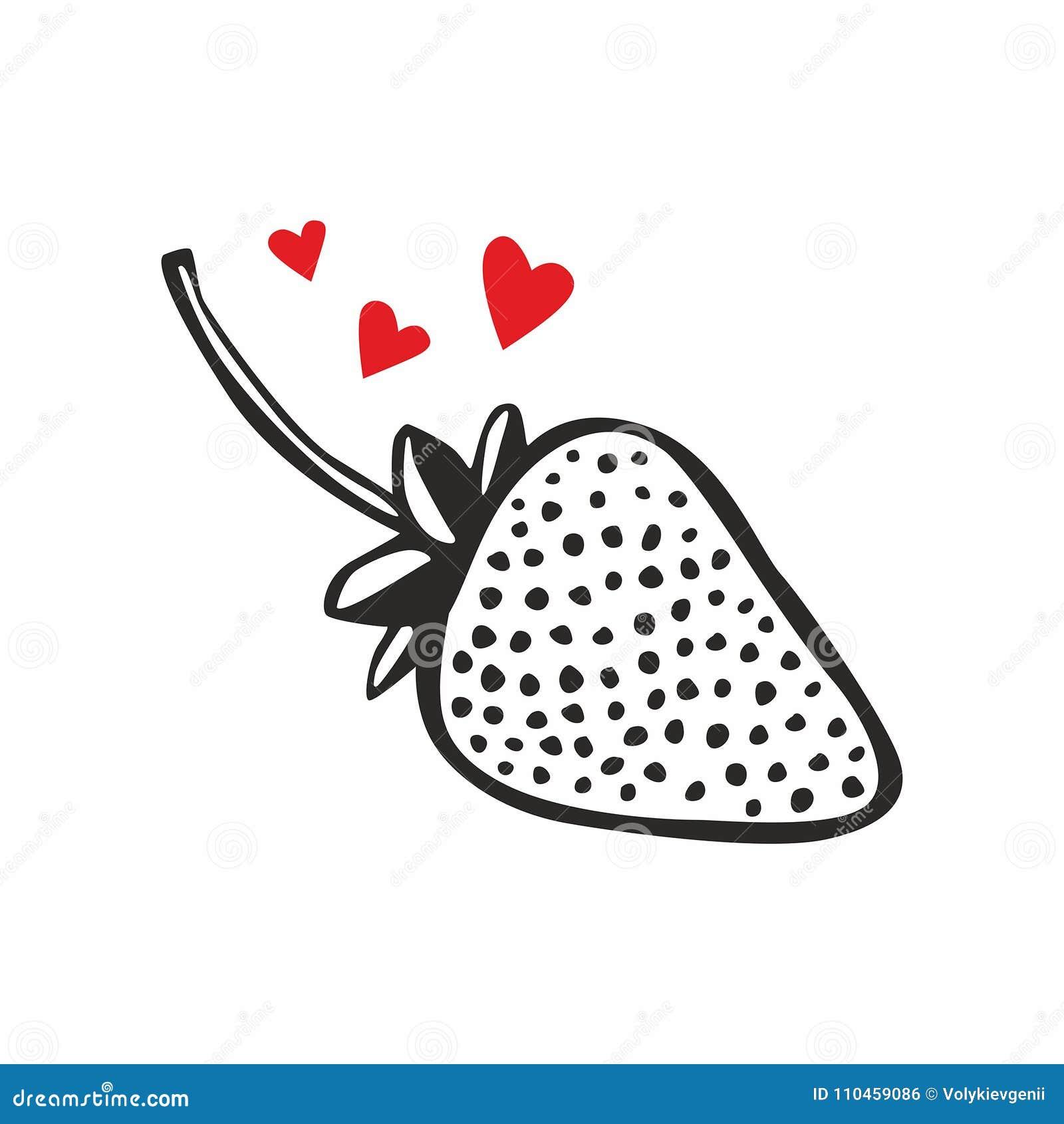 Symbolsjordgubbe med hjärtor