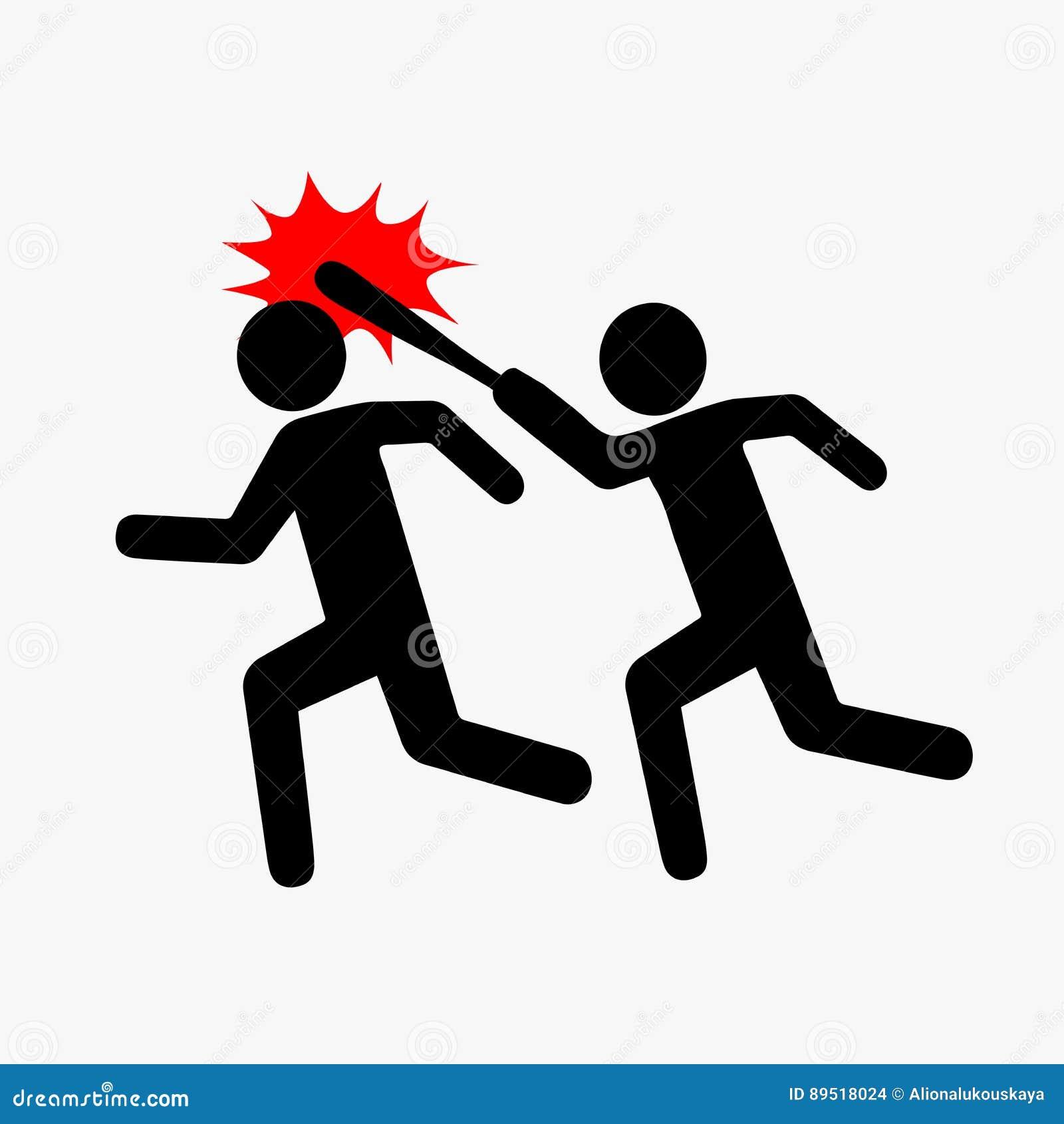 Symbolsröveri, Pictogramvåld Plan stil En symbolically dragen person fångar upp och slår andra med en pinne