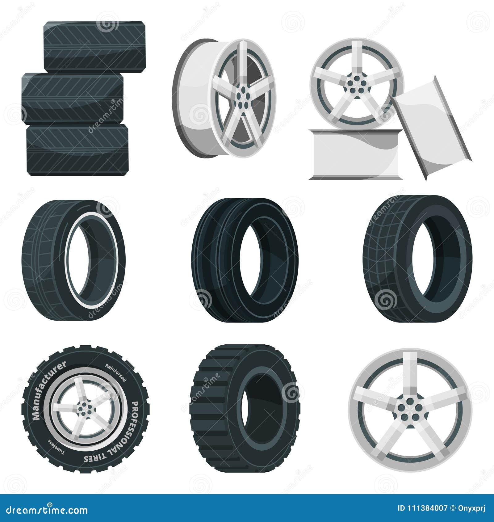 Symbolsuppsättning av olika skivor för hjul och gummihjul Vektorbilduppsättning i tecknad filmstil