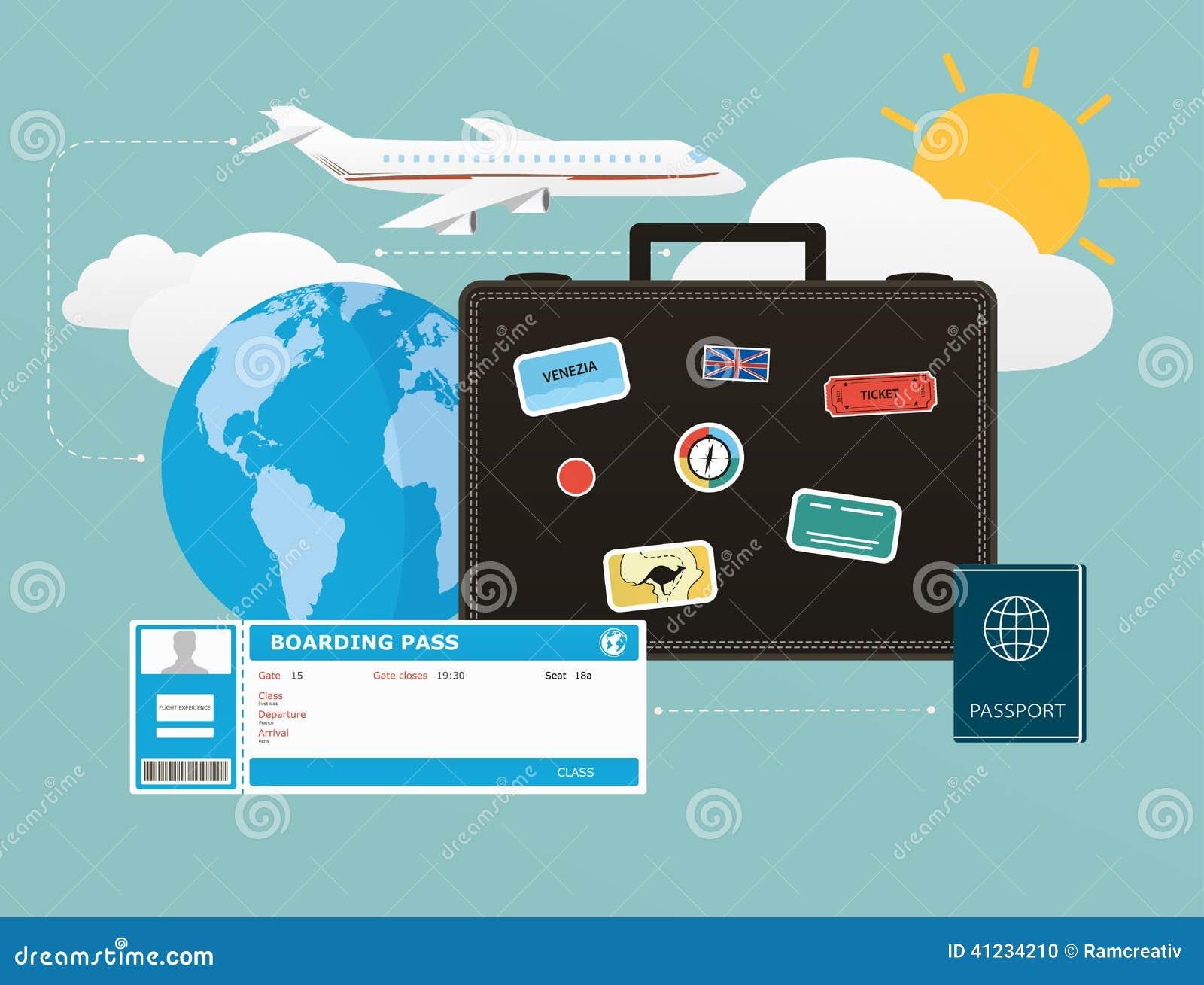 Symbolsuppsättning av resande, objekt av turism och lopp i den plana designen