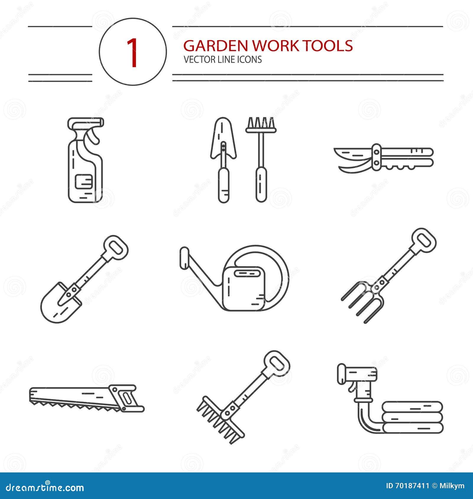 Symbolsuppsättning av trädgårds- arbetshjälpmedel