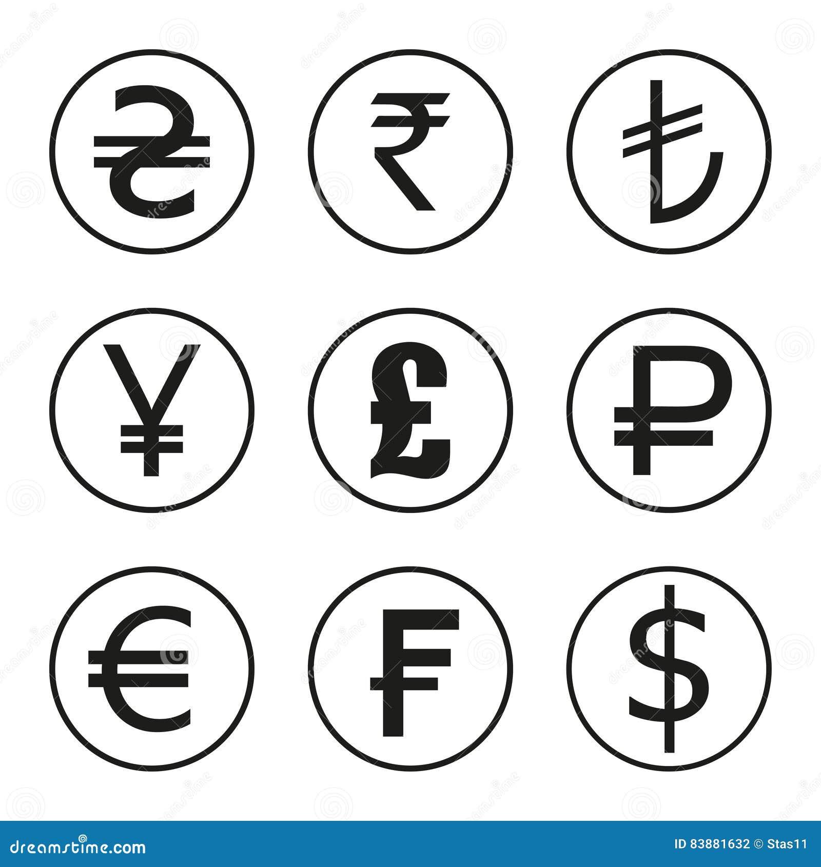 Symbolsuppsättning av valutor av världen Dollar euro, pund, franc, rupier, yen
