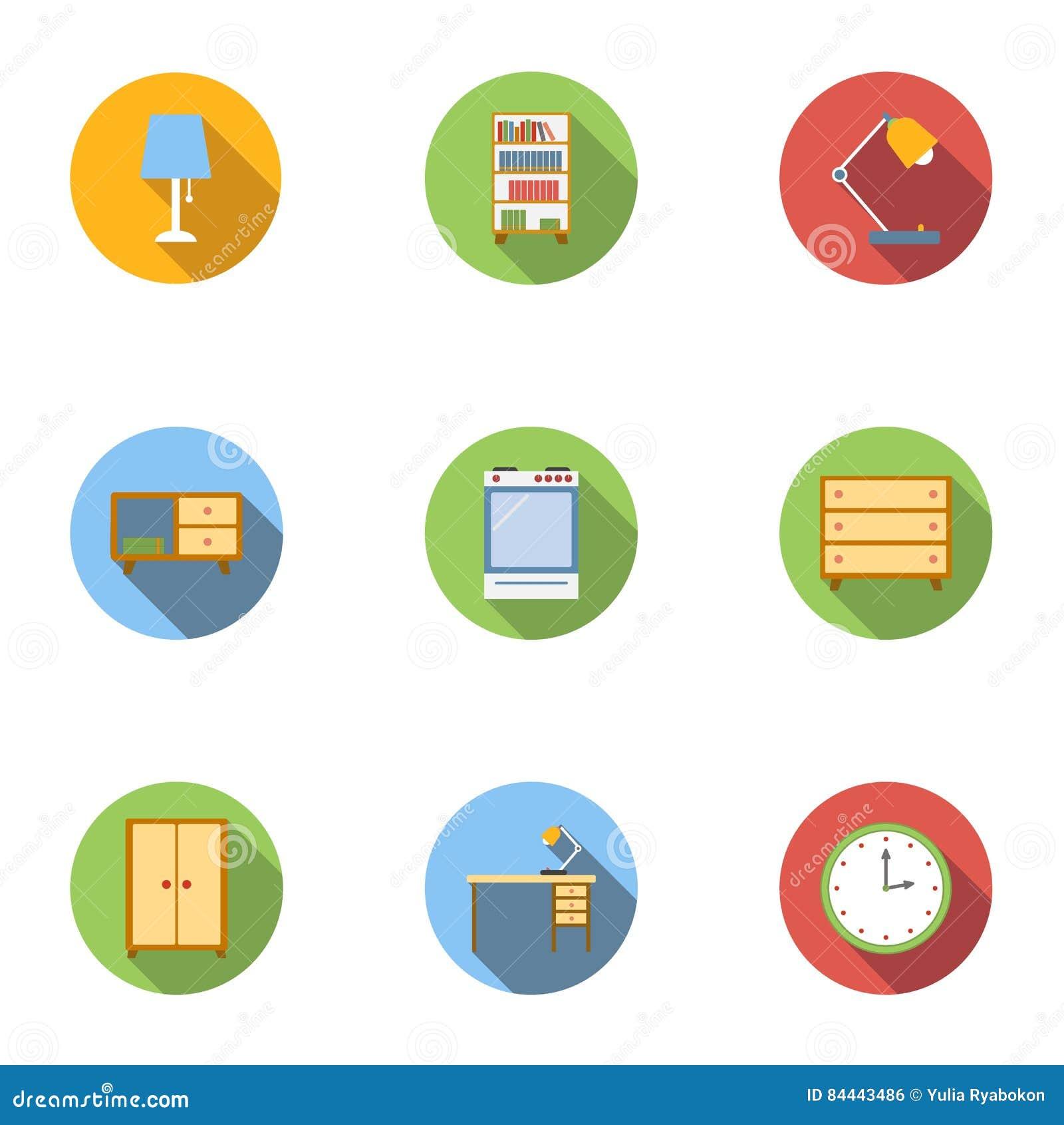 Symbolsuppsättning för hem- inredningar, lägenhetstil