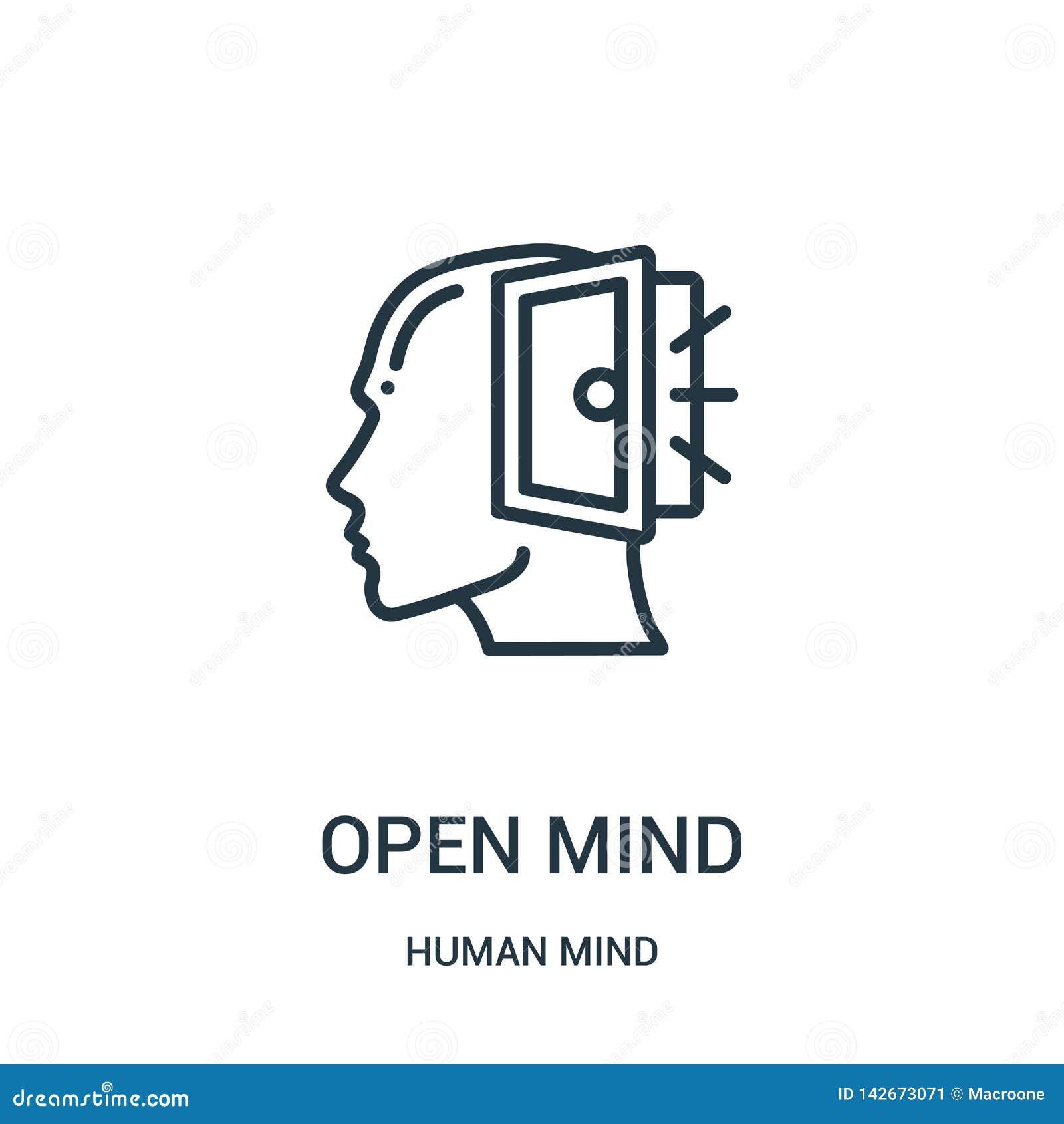 Symbolsvektor för öppen mening från samling för mänsklig mening Tunn linje för översiktssymbol för öppen mening illustration för