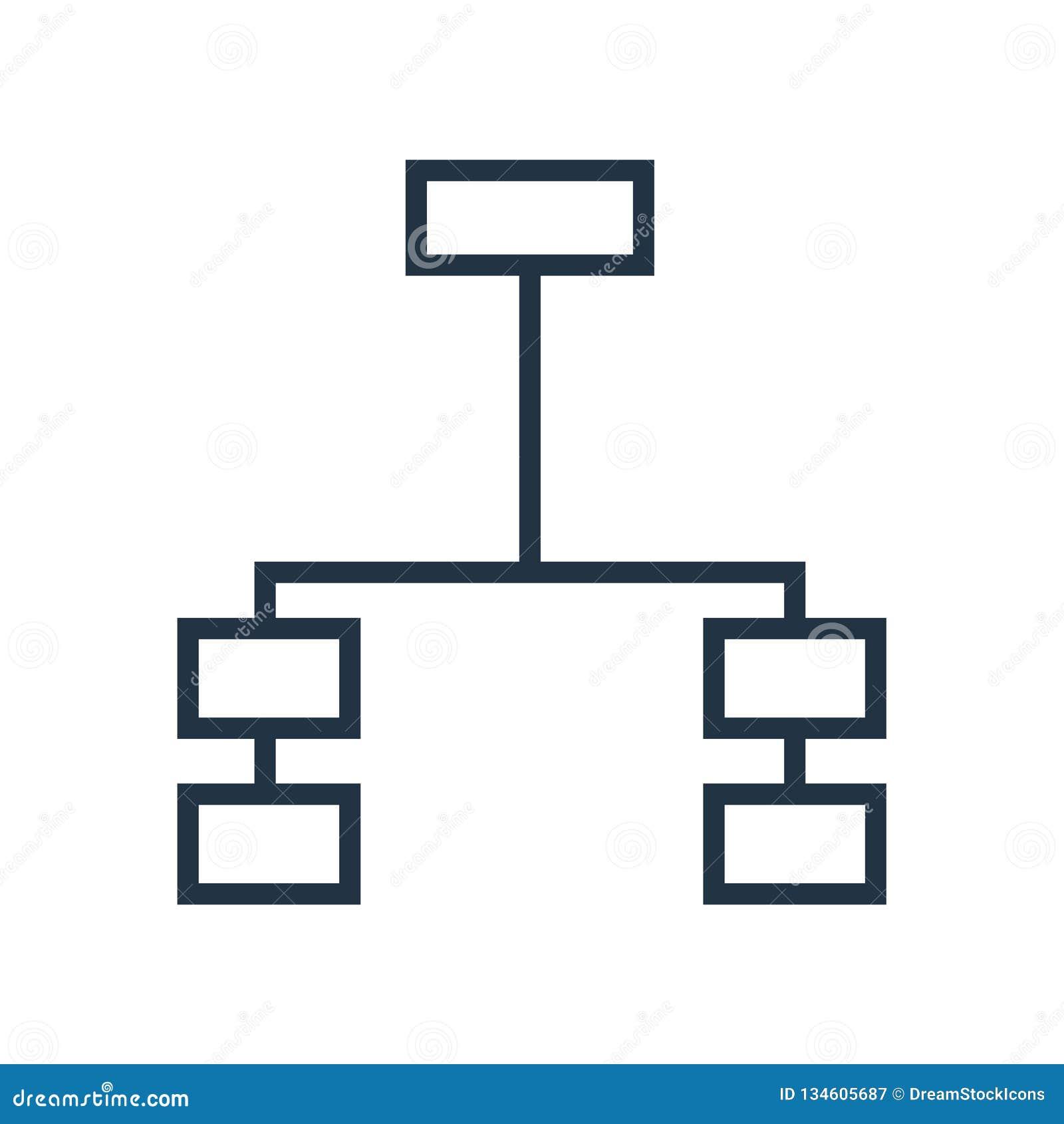 Symbolsvektor för hierarkisk struktur som isoleras på vit bakgrund, tecken för hierarkisk struktur