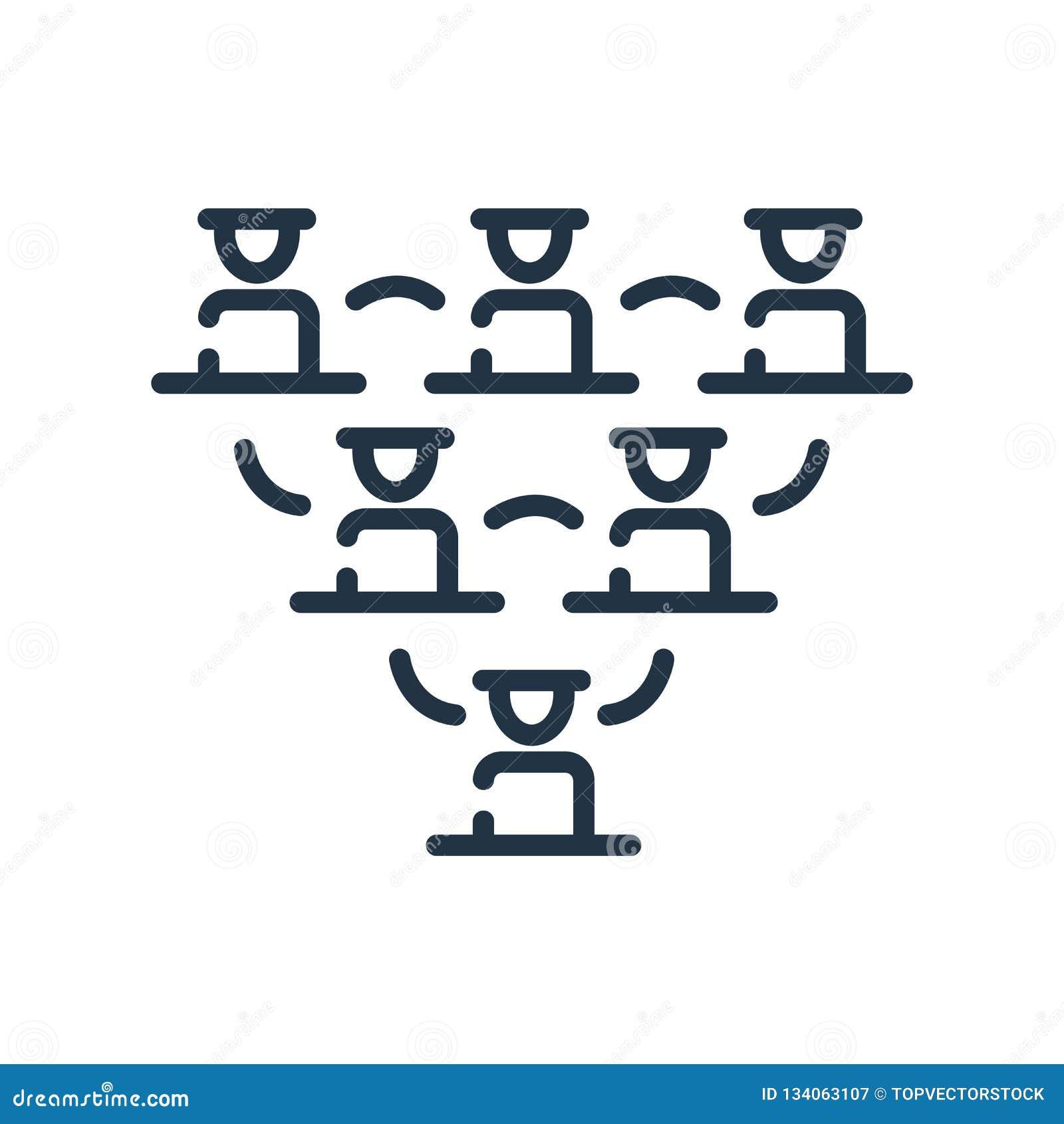 Symbolsvektor för hierarkisk struktur som isoleras på vit bakgrund, tecken för hierarkisk struktur, linjen symbol eller linjär be