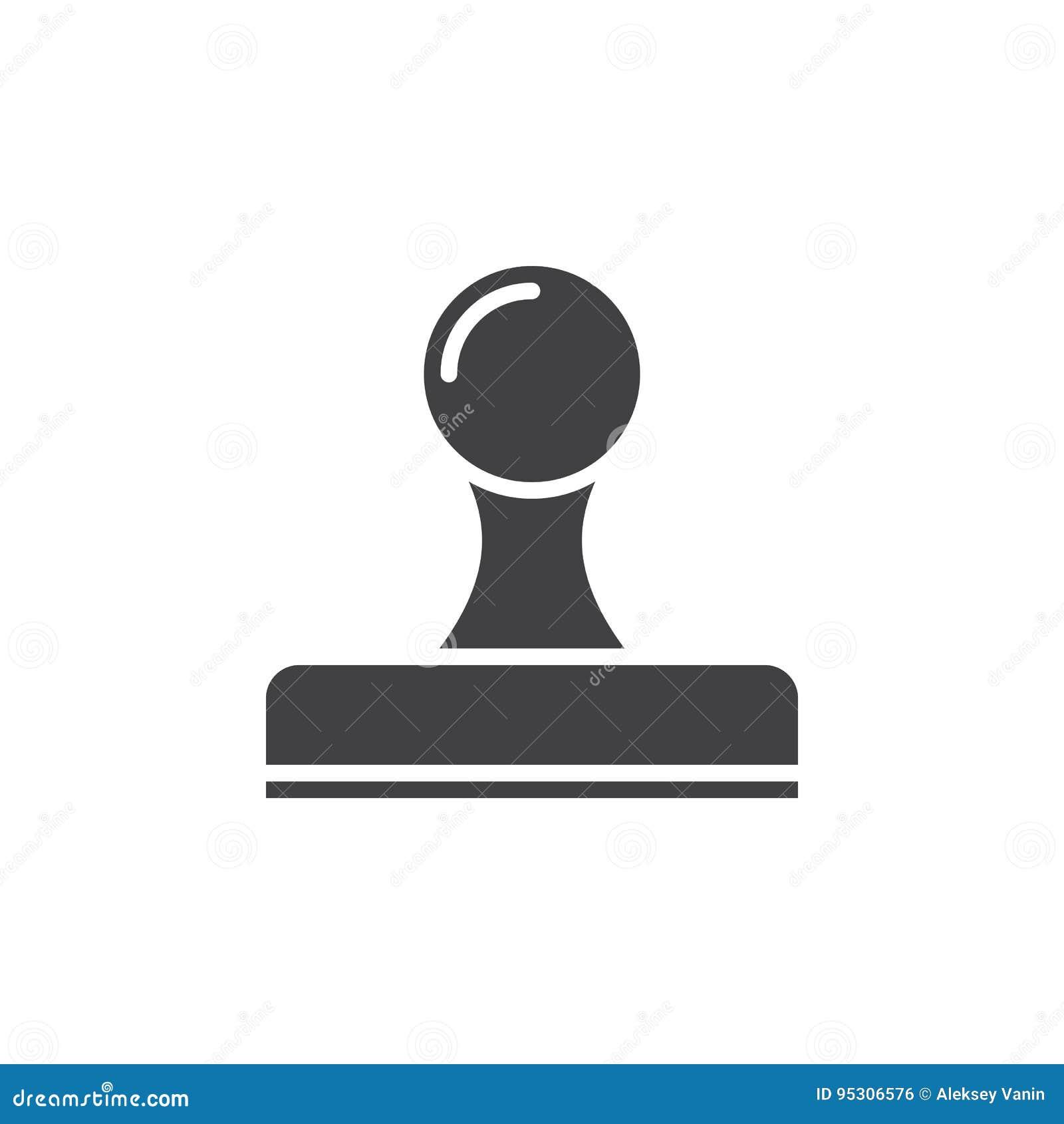 Symbolsvektor för Rubber stämpel, fast logo, pictogram som isoleras på vit