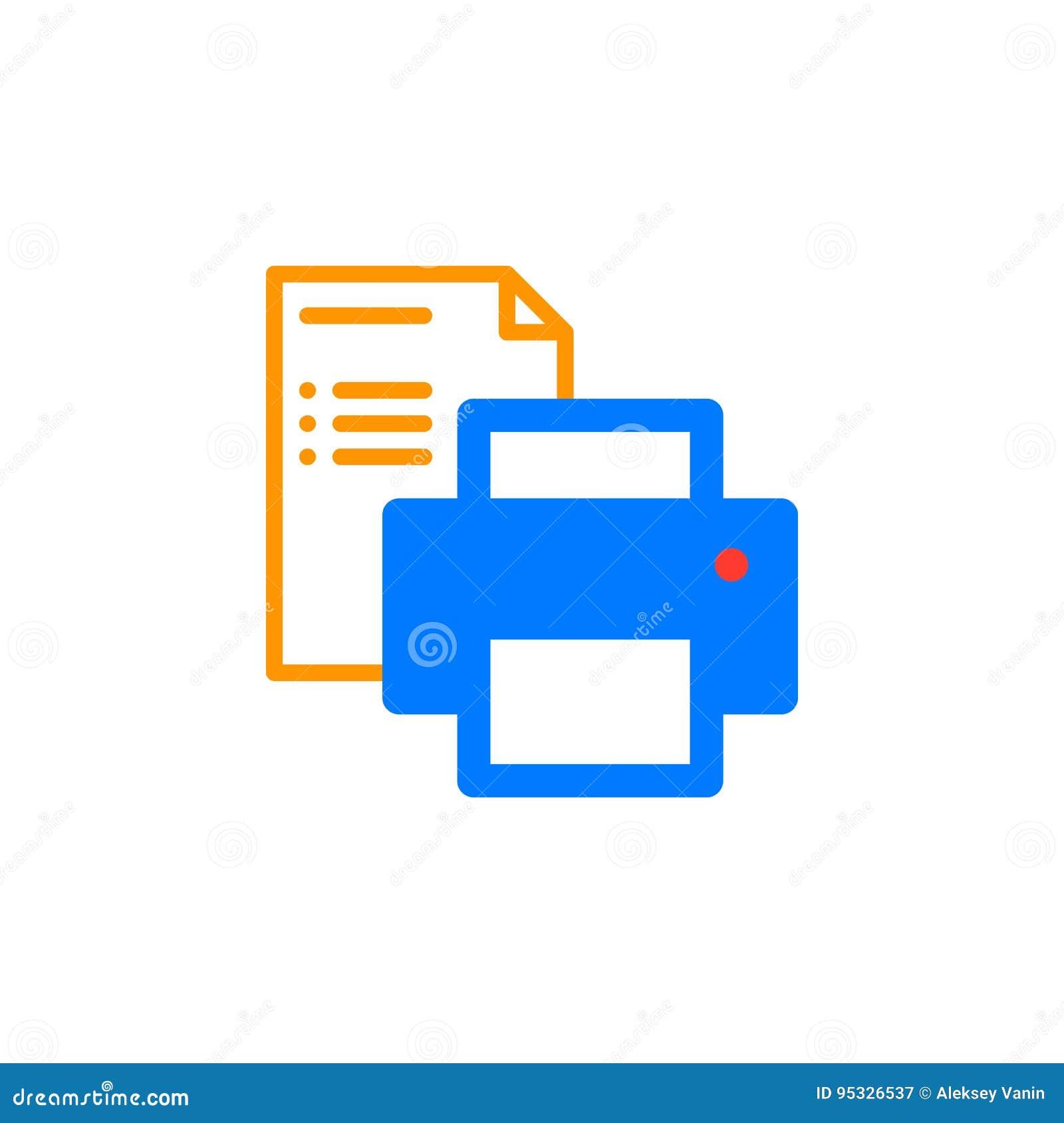 Symbolsvektor för skrivare och för pappers- dokument, fyllt plant tecken, fast färgrik pictogram som isoleras på vit