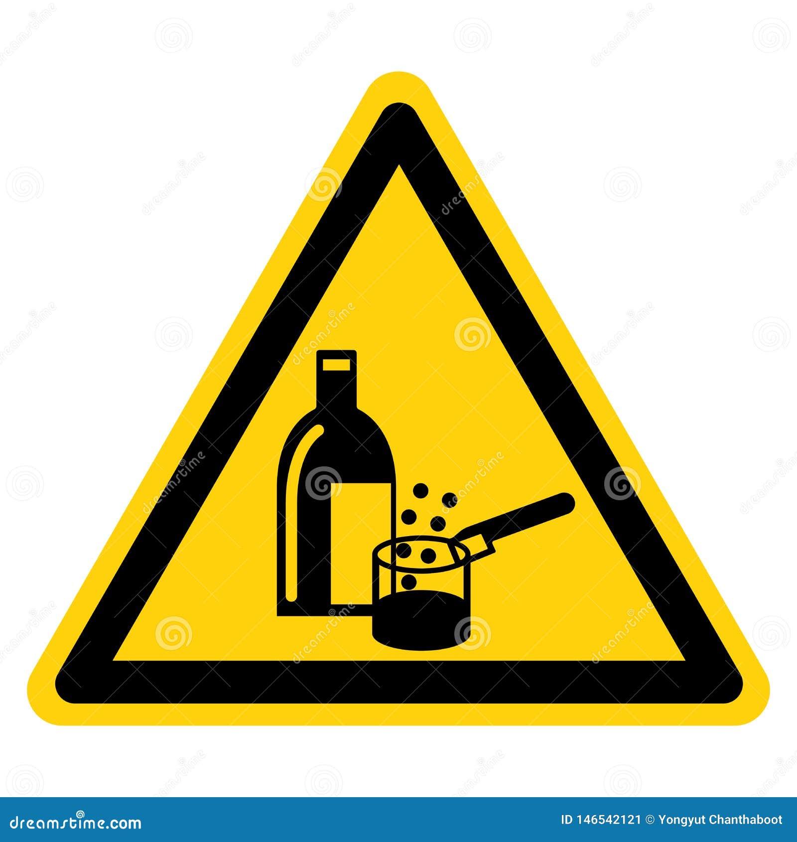 Symboltecken i bruk för kemikalieer, vektorillustration, isolat på den vita bakgrundsetiketten EPS10