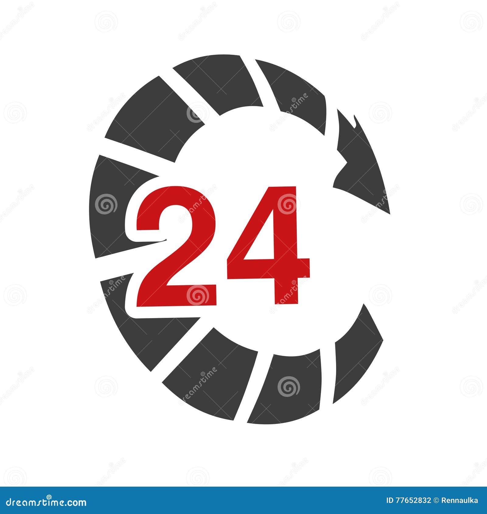 Symbolu tempo doręczeniowy pakunek, pudełko Ikona prędkość transport Strzała z znakiem 24 godziny