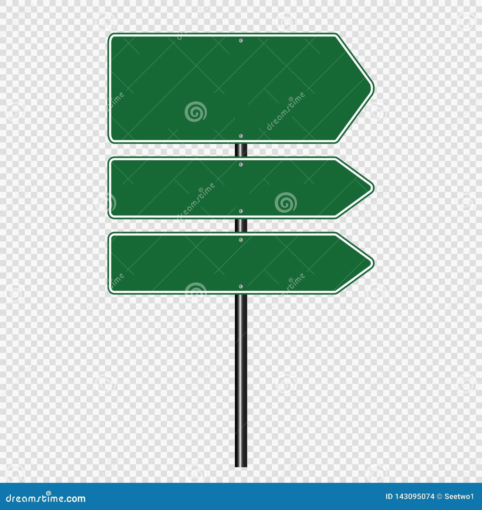 Symbool Groene die verkeersteken, de tekens van de Wegraad op transparante achtergrond worden geïsoleerd Vector illustratie Eps 1