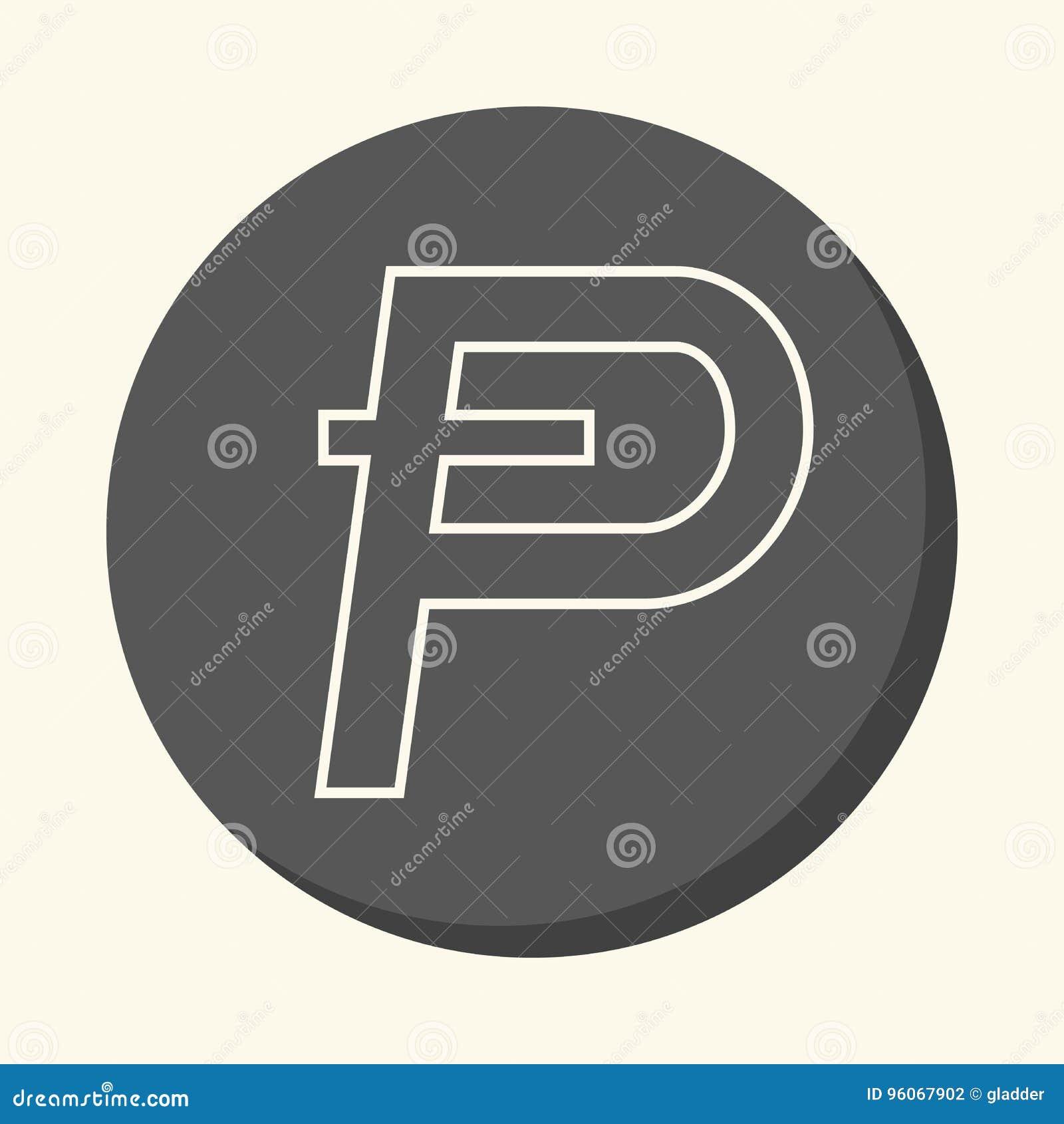Symbool van digitale crypto munt Potcoin, rond lineair pictogram met illusie van volume, eenvoudige kleurenverandering