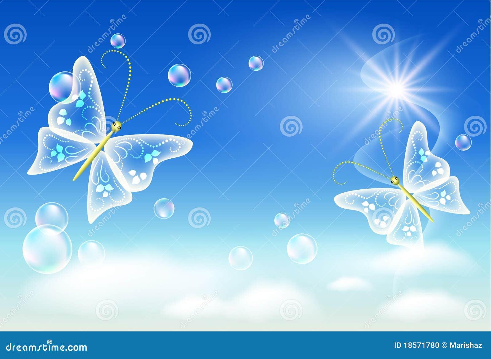 Hemel, wolken, bellen en vlinder. Symbool van ecologie schone lucht.: nl.dreamstime.com/stock-foto-symbool-van-ecologie-schone-lucht...